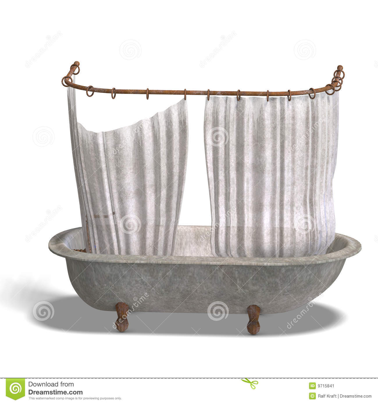 Dirty Bathtube With Shower Curtain Stock Image