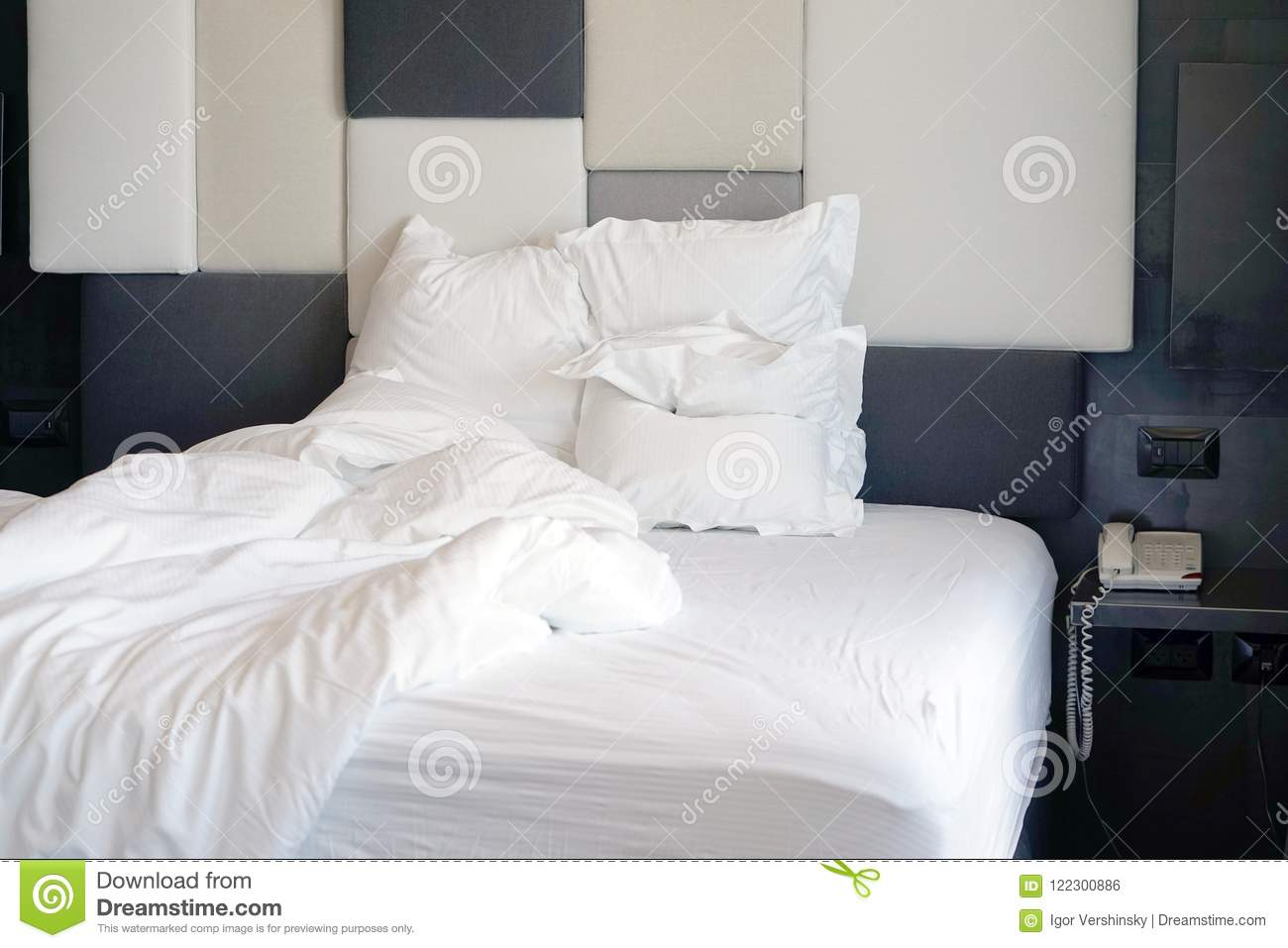 Dirty Bed In The Hotel Dirty Bed Pillow Blanket Room Stock Photo