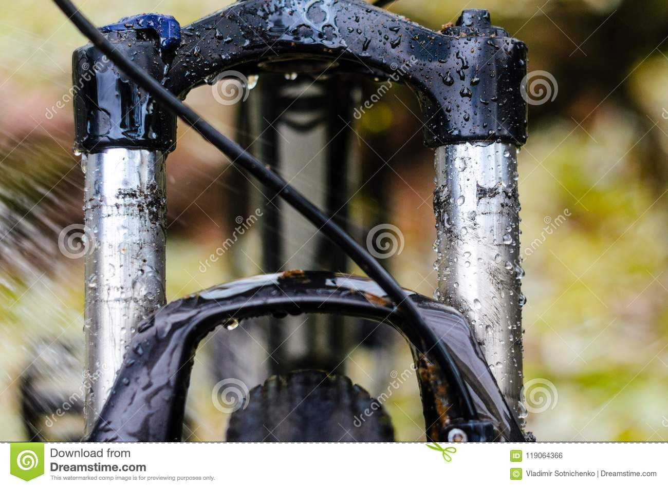 adb8b7a6859 Dirty Bicycle Suspension Fork Stock Photo - Image of front, leisure ...