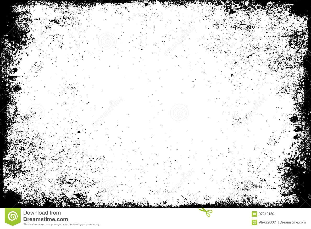 d871ad805fe Dirty black stained frame. Grunge template. White background. Old worn  paint texture.