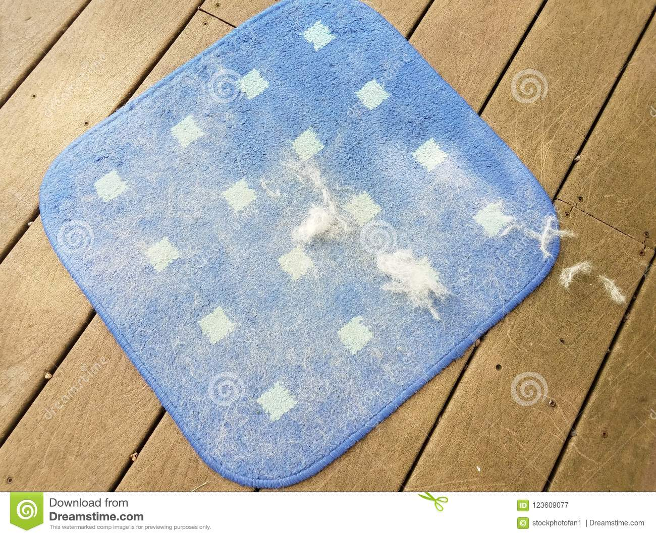 Blue Square Rugs Or Carpet Covered With Dog Hair On Wood Deck Stock