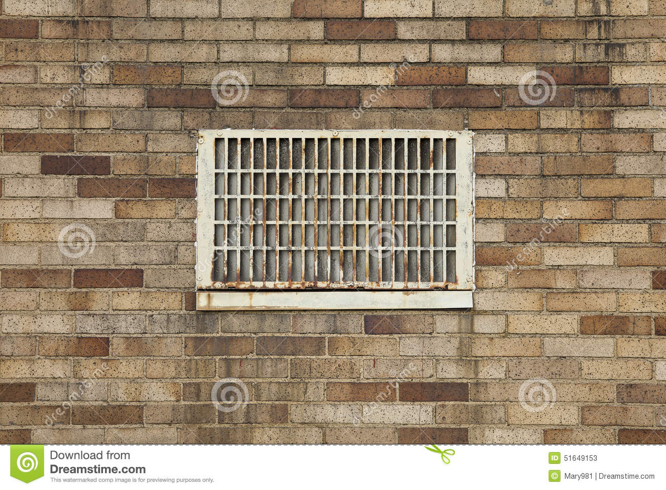 Dirty brick wall with vent