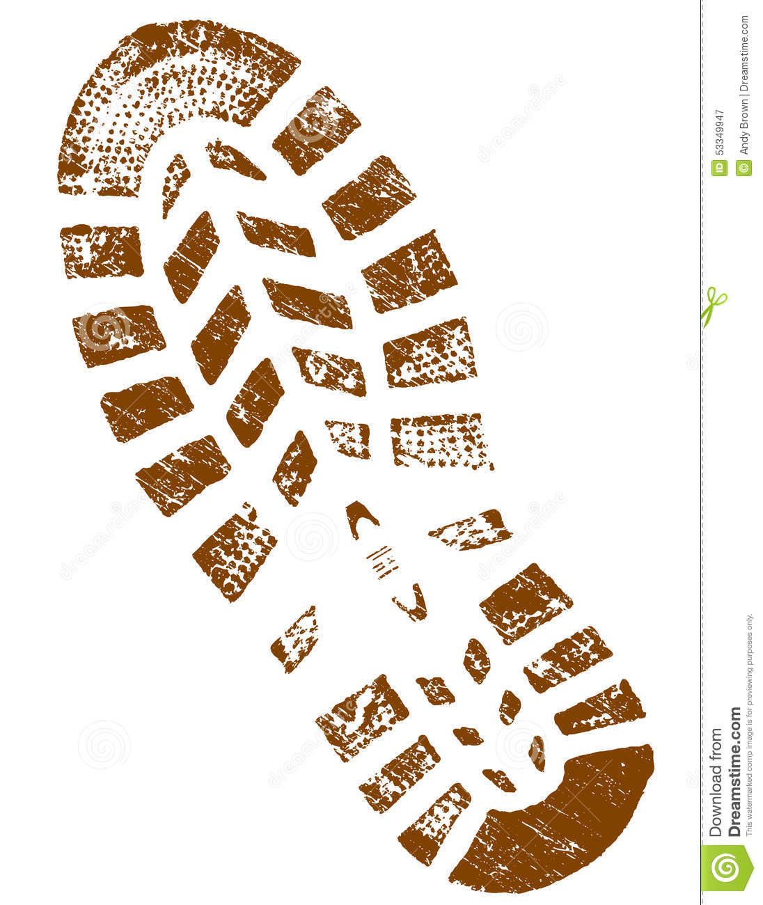 Dirty Brown ShoePrint Detailed Stock Illustration Image