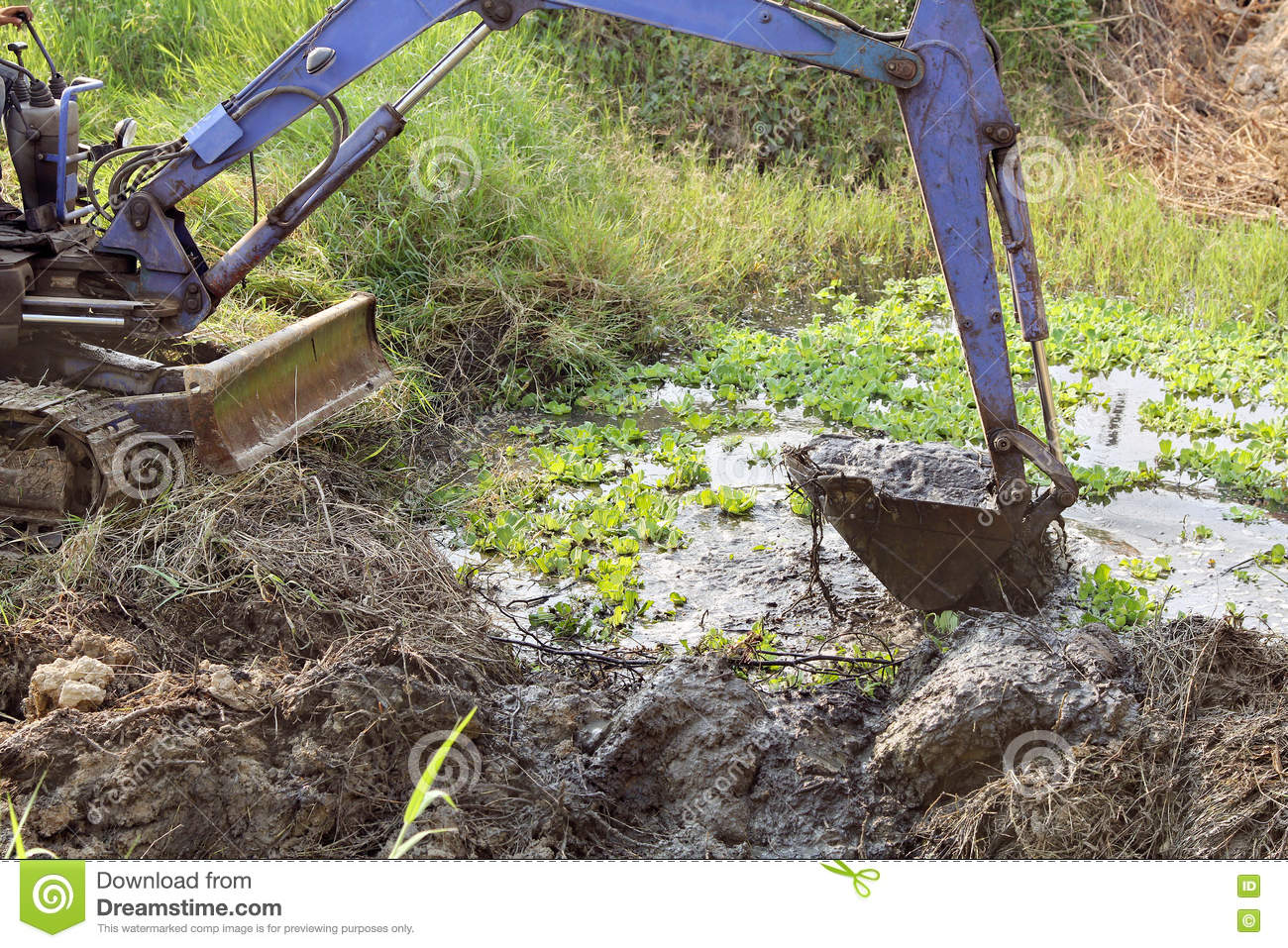 Dirty Bucket Of Backhoe Digging Mud And Weed  Stock Image
