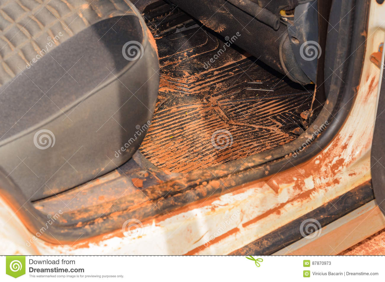 dirty car interior with sand and mud everywhere stock image image of close interior 87870973. Black Bedroom Furniture Sets. Home Design Ideas