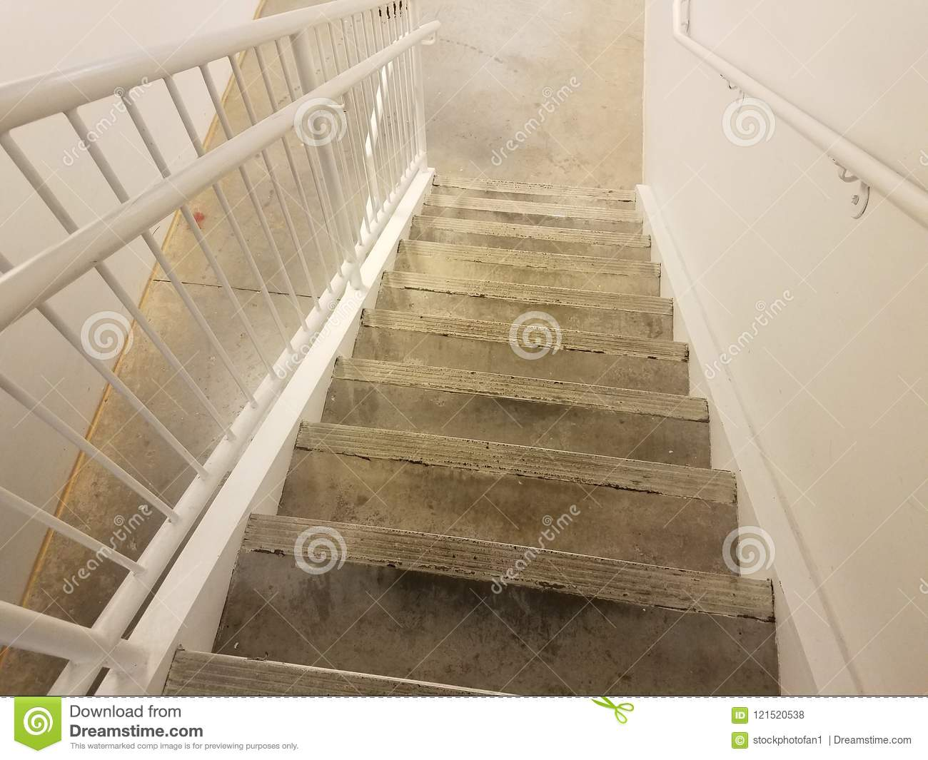 Download Dirty Cement Steps Or Stairs With White Railing Stock Photo    Image Of Grey,