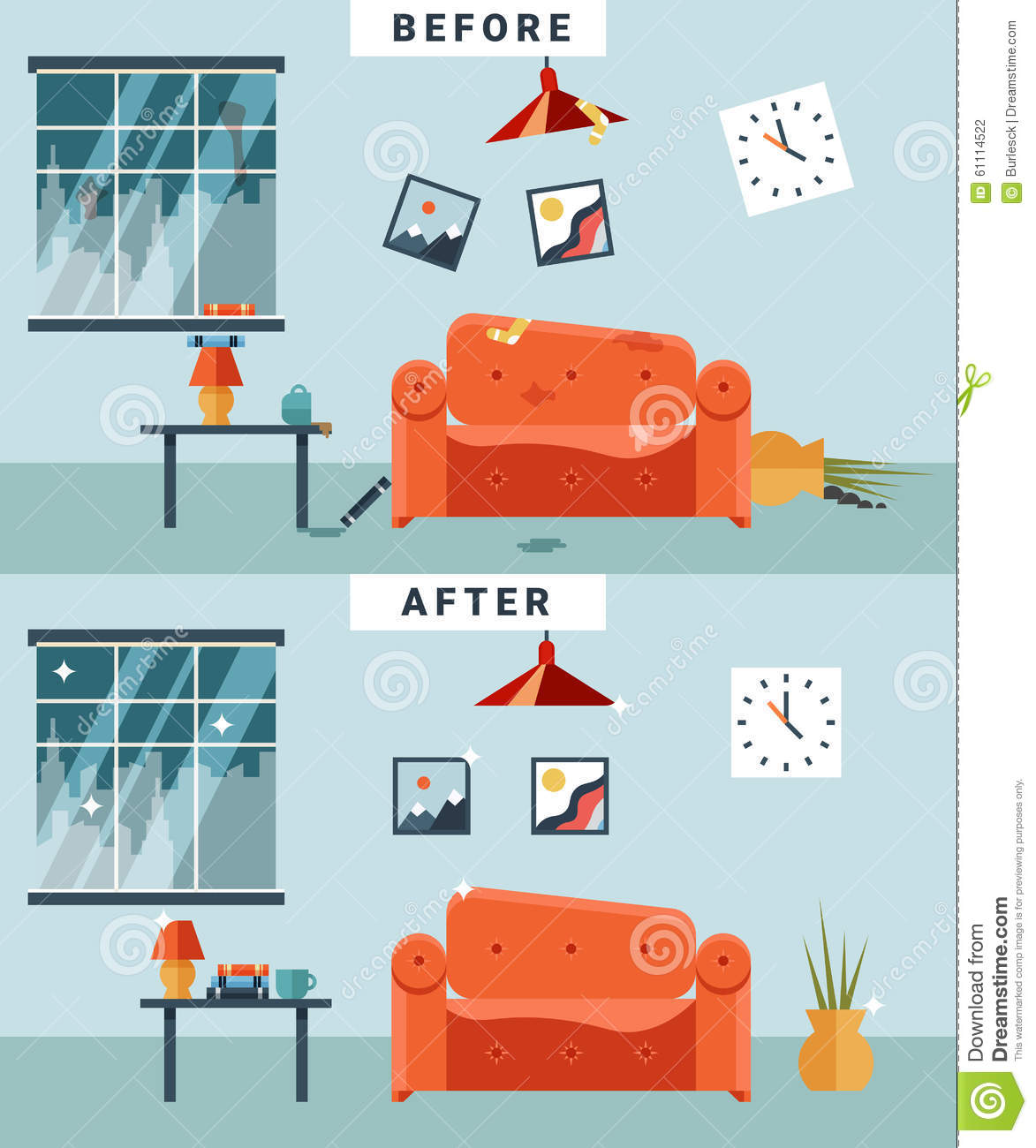 Messy Room Garbage: Dirty And Clean Room Stock Vector. Illustration Of Glass