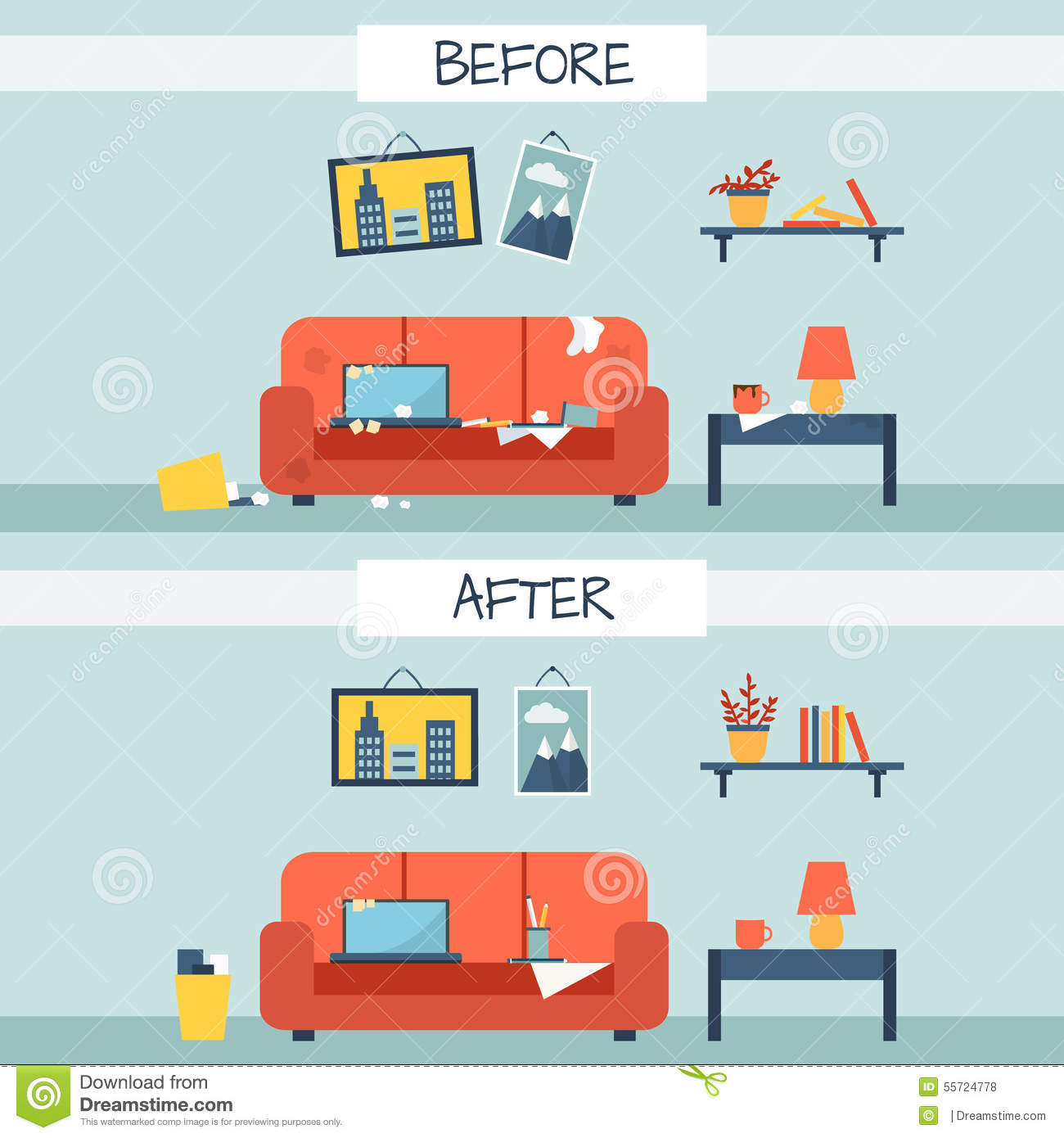 Patio Furniture Dirty And Clean Room Stock Vector Image 55724778