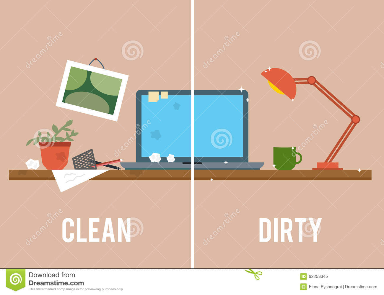 Dirty and clean work table stock vector image 92253345 - One time interior house cleaning ...