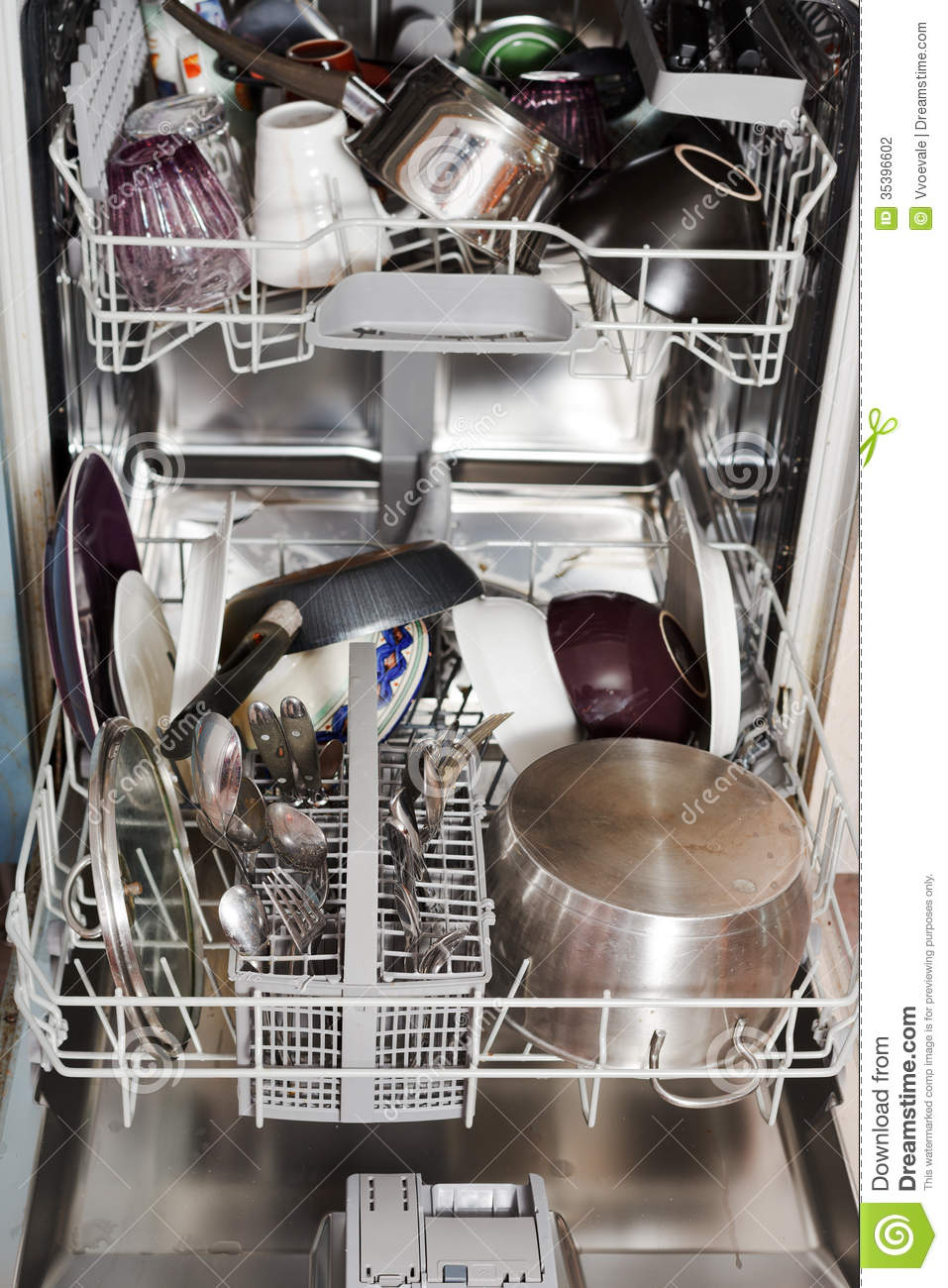 dirty cookware in home dishwasher stock photography image 35396602. Black Bedroom Furniture Sets. Home Design Ideas