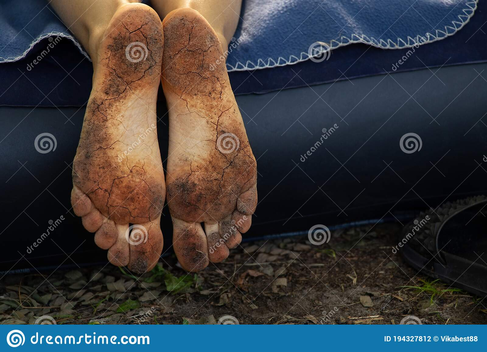 Dirty Male Feet Rubber Slippers On Stock Photo 207800545