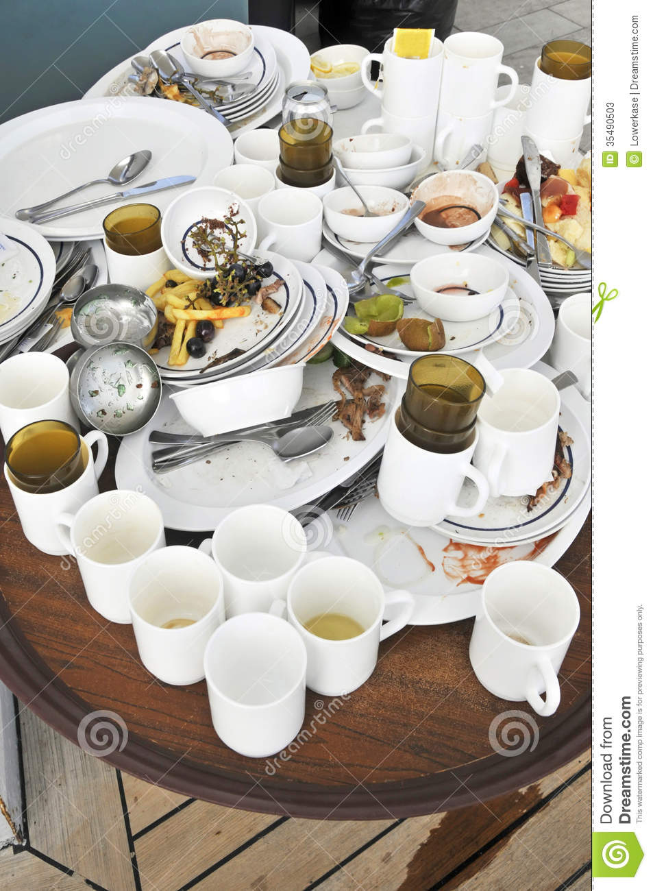 Dirty Crockery And Left Over Food Stock Photos Image