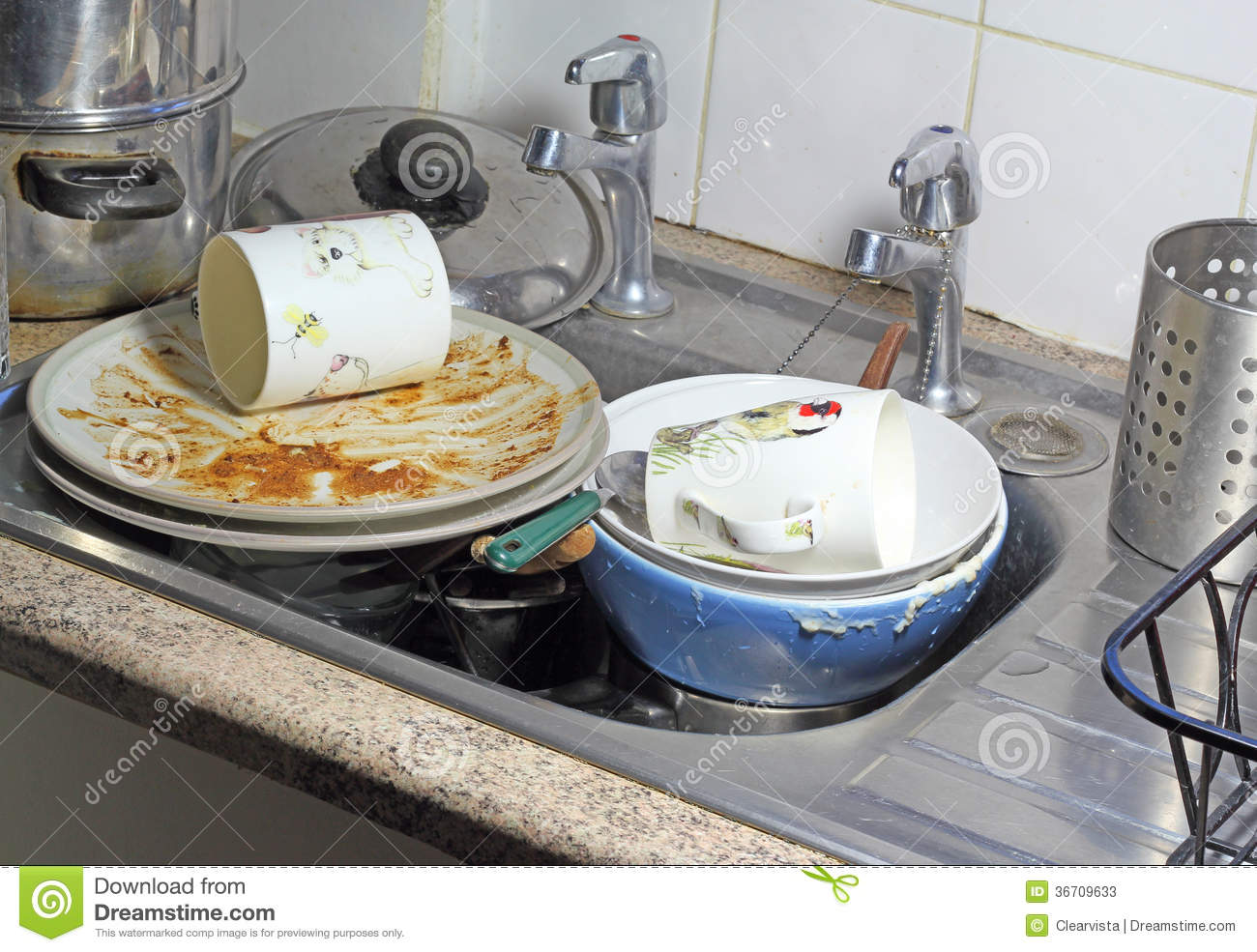 Dirty Dishes In A Sink For Washing Up. Stock Image - Image of dirty ...