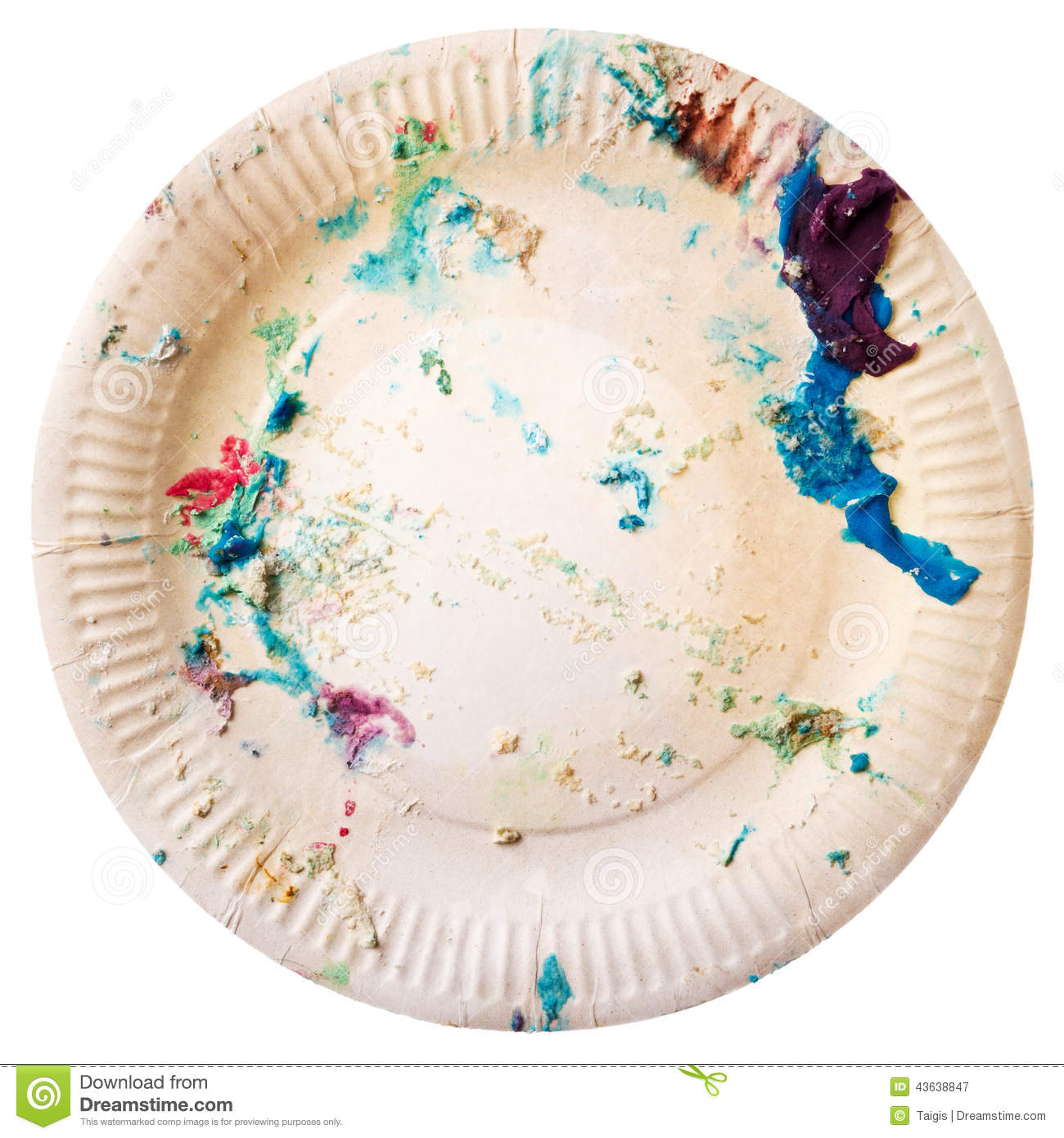 Dirty disposable plate stock image. Image of cake ...