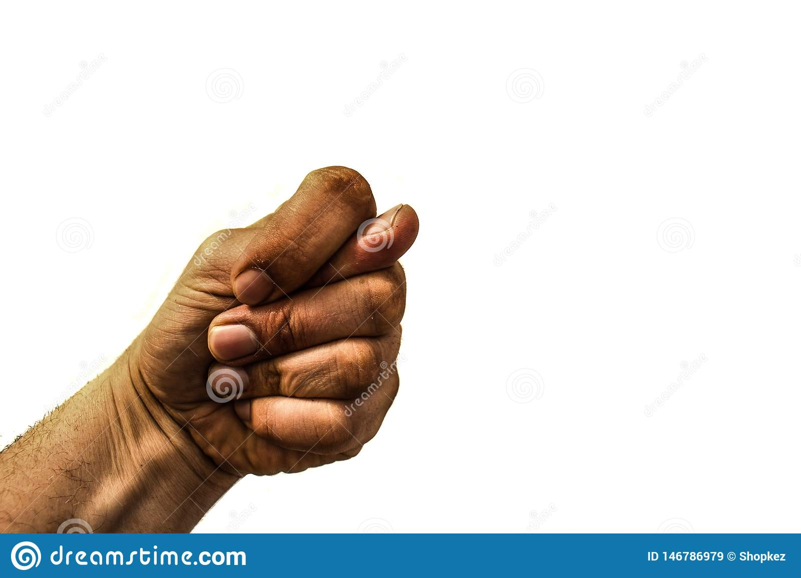 Dirty hand showing a fig sign isolated on white background