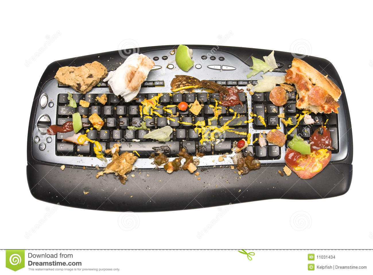 keyboard covered with food remnants. We all know that we are guilty ...