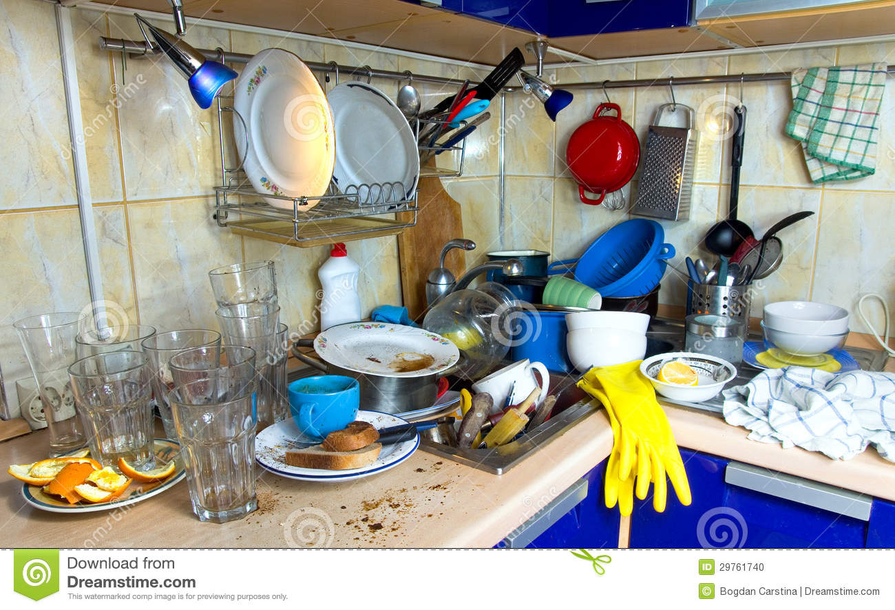 Dirty Kitchen Unwashed Dishes Stock Photo - Image of kitchen, sink ...