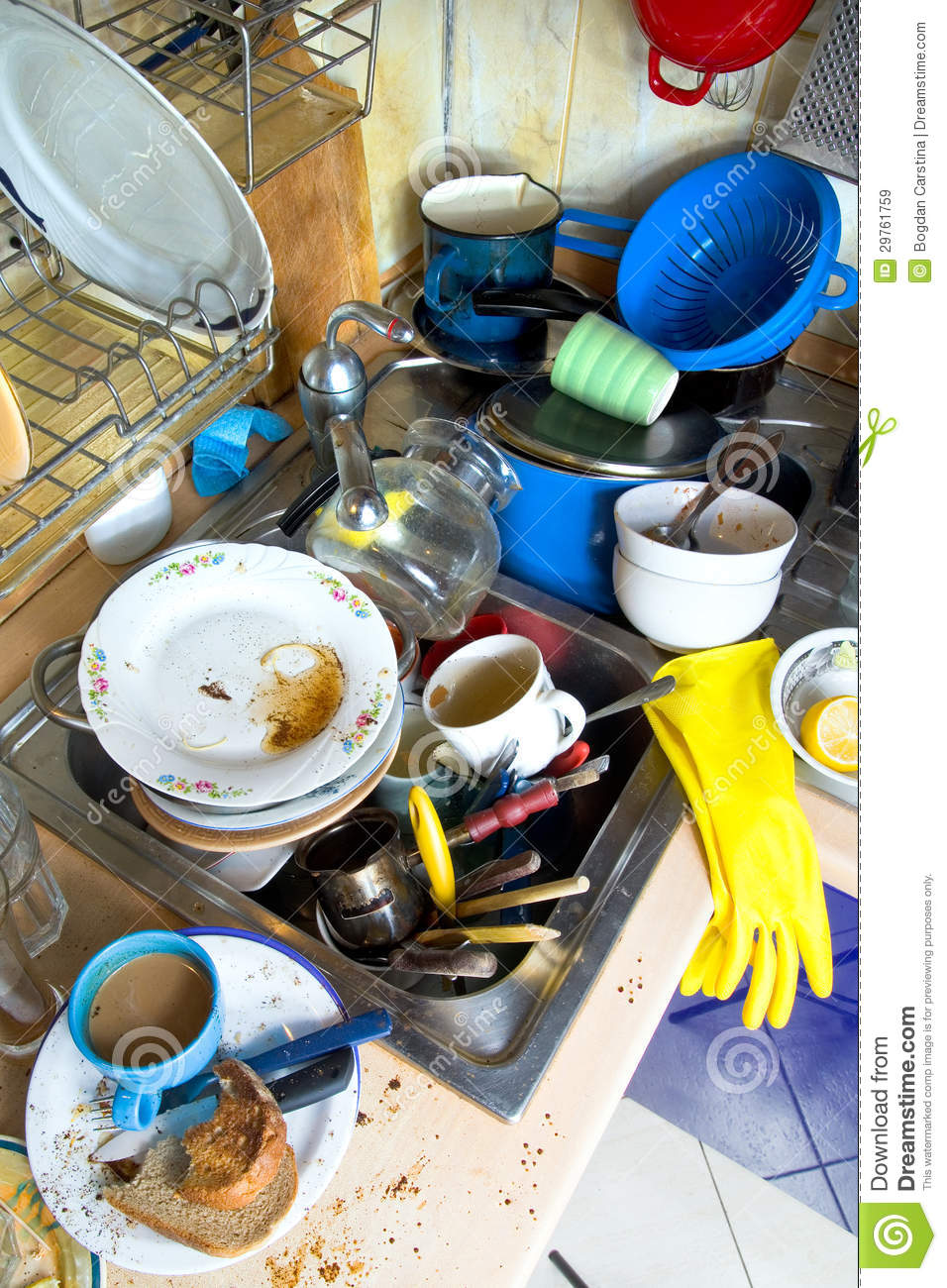 dirty kitchen unwashed dishes stock image - image of