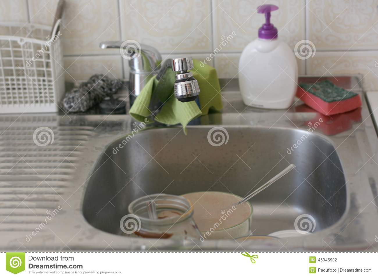 Dirty kitchen sink stock photo. Image of kitchen, family - 46945902
