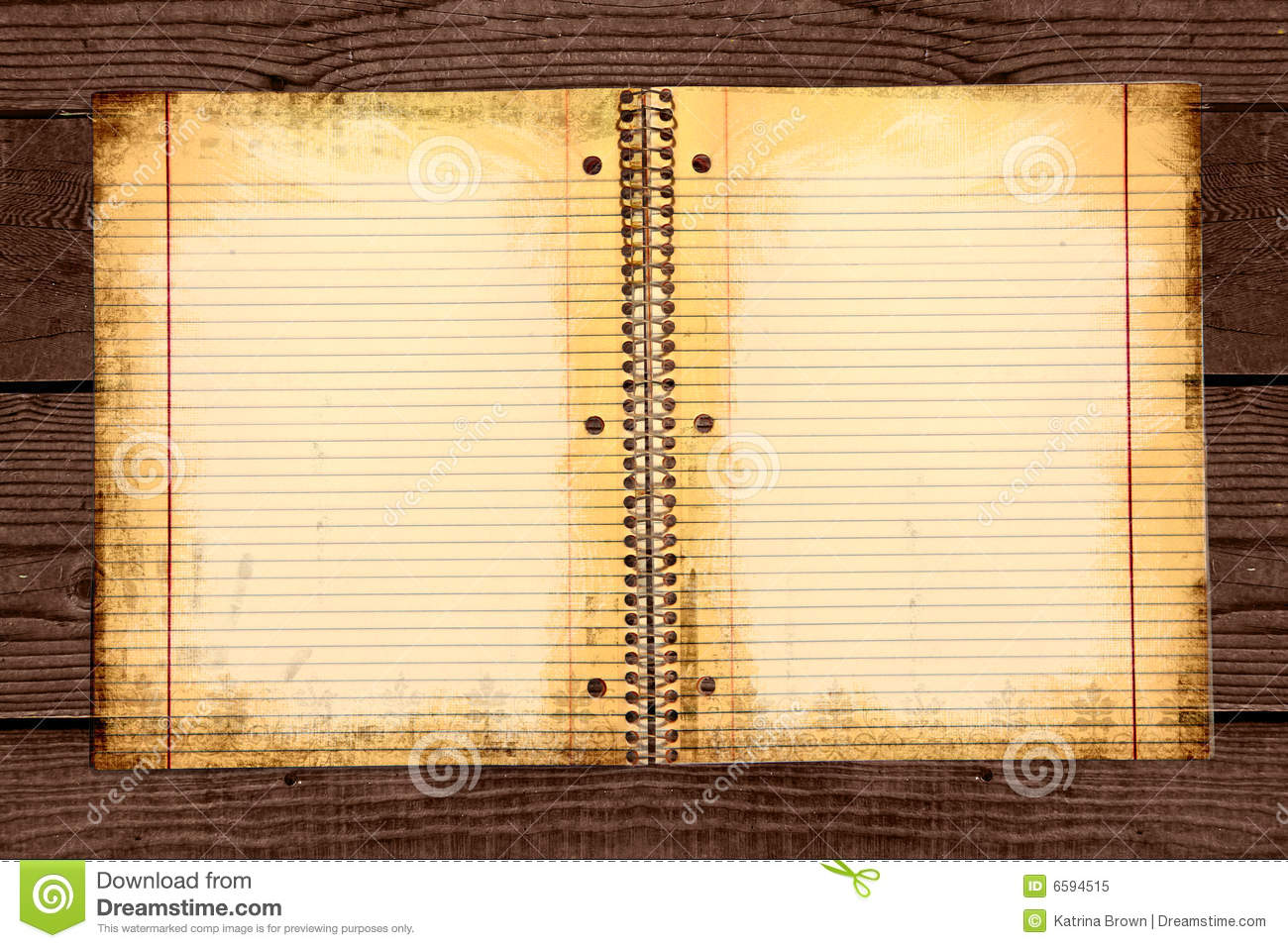Dirty Lined School Paper In A Binder Royalty Free Stock