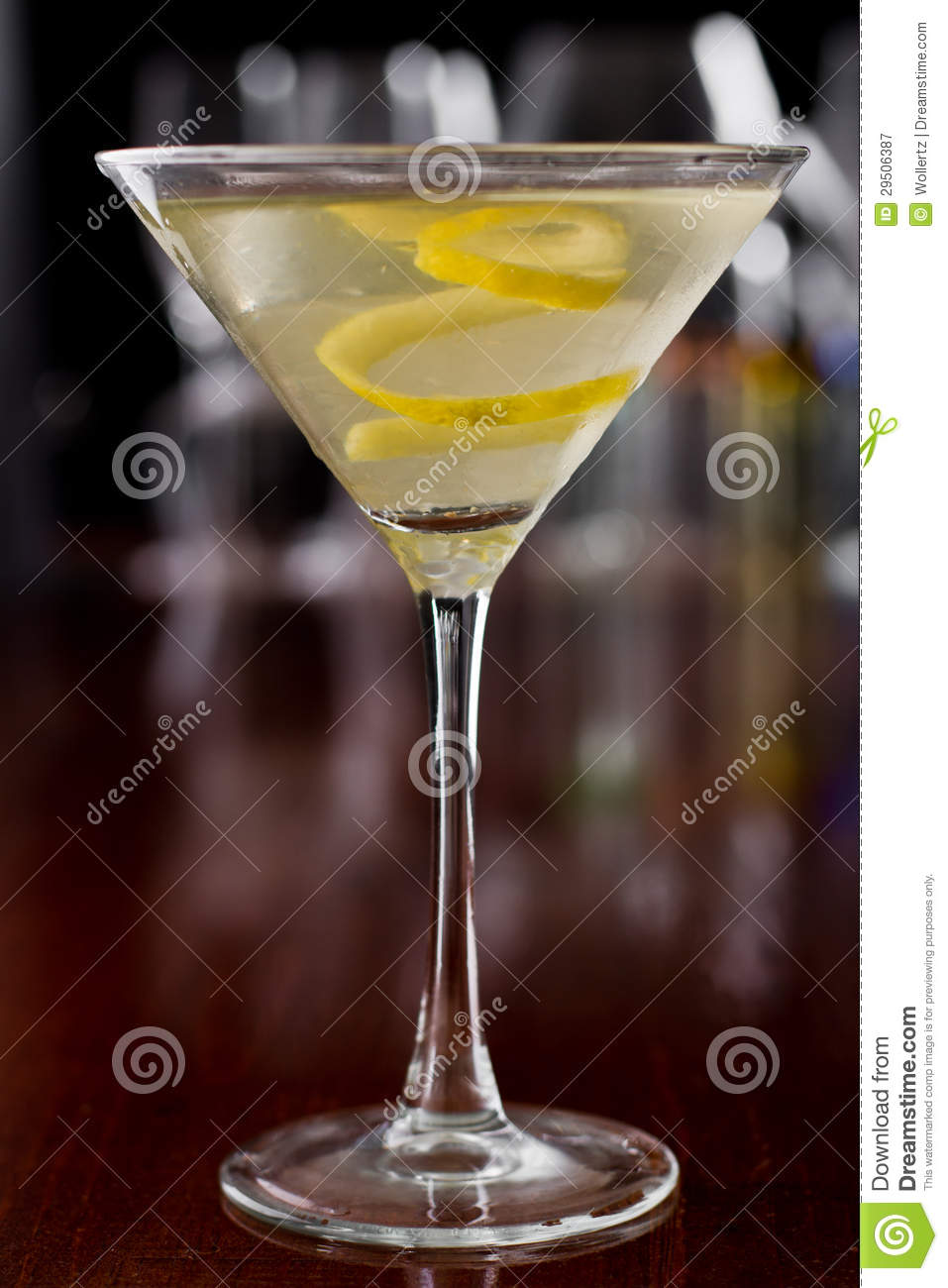 dirty martini with a lemon twist stock image image of neat green