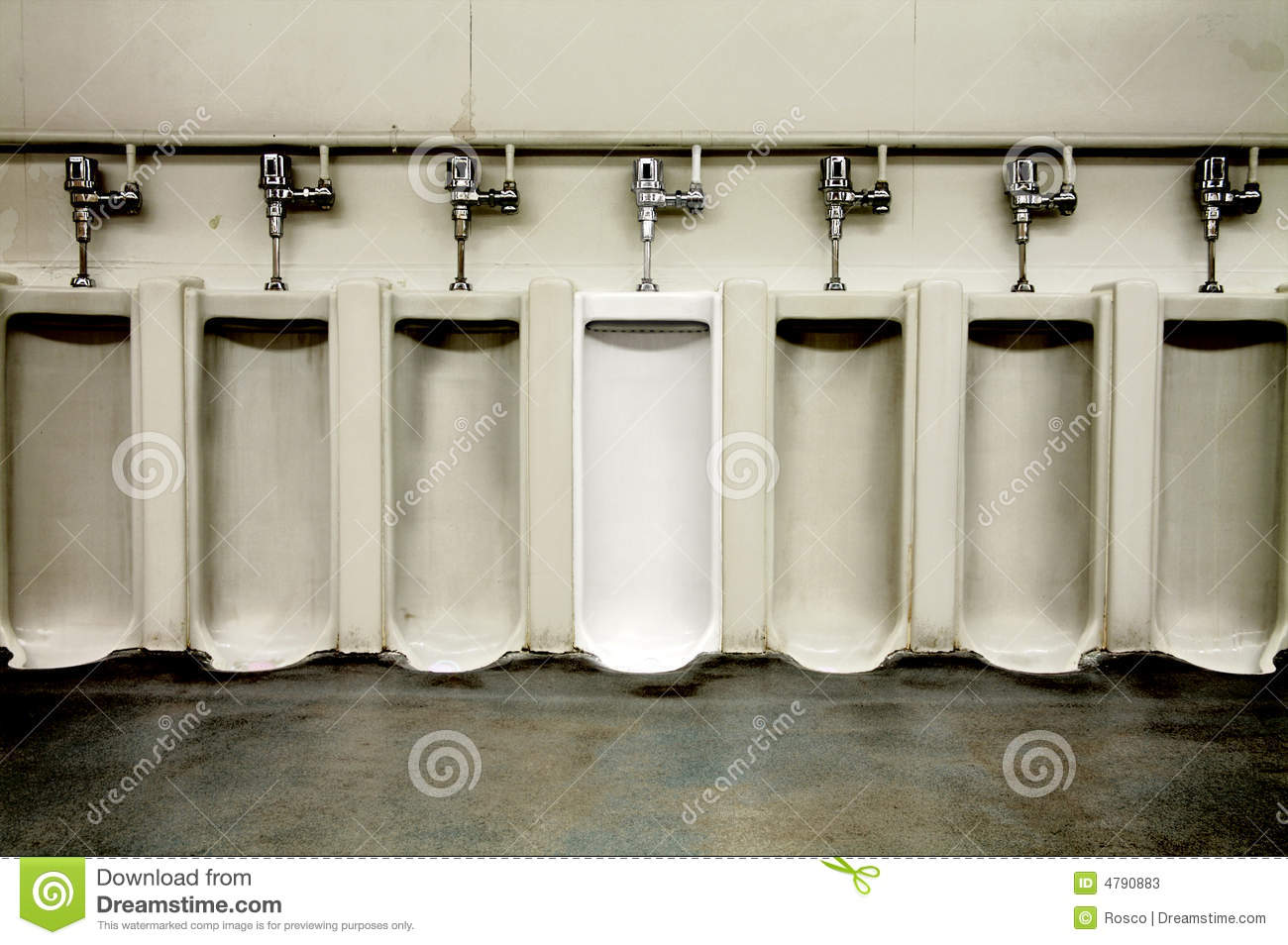 Dirty men s bathroom with one clean urinal. Dirty Men  39 s Bathroom With One Clean Urinal Stock Photos   Image