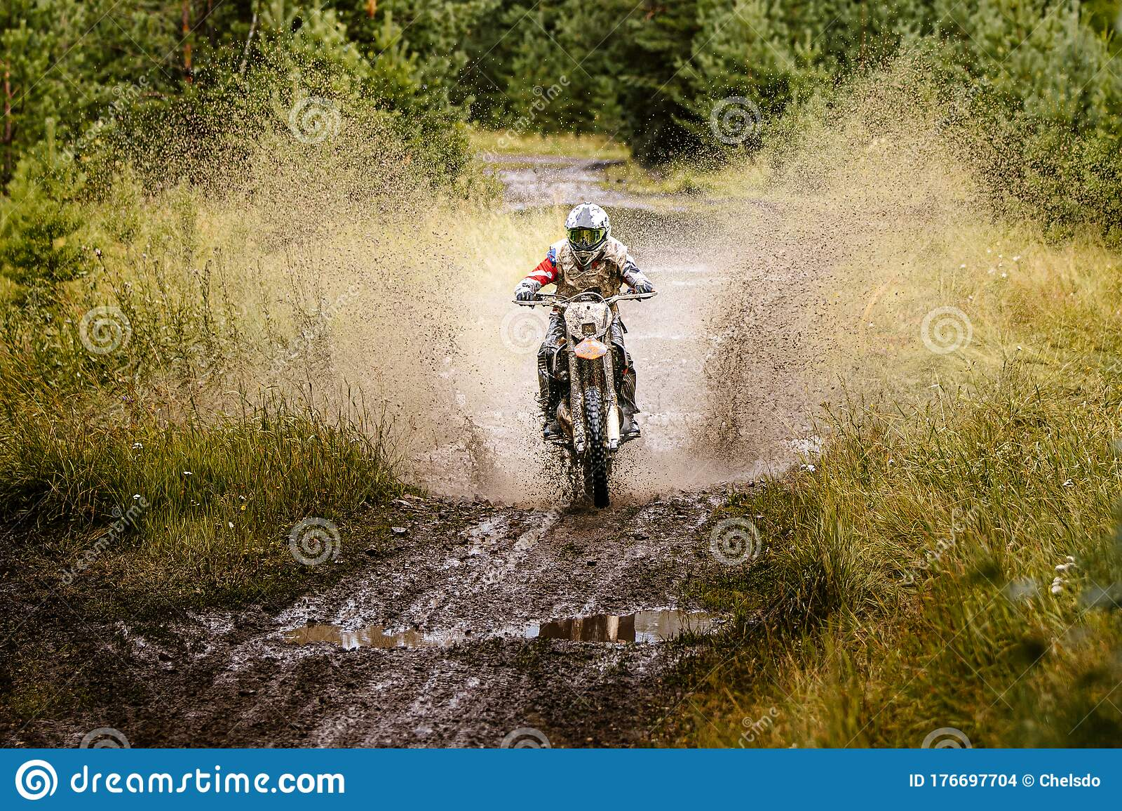 Motocross Bike Rider Rear Mud Stock Photo - Image of fling