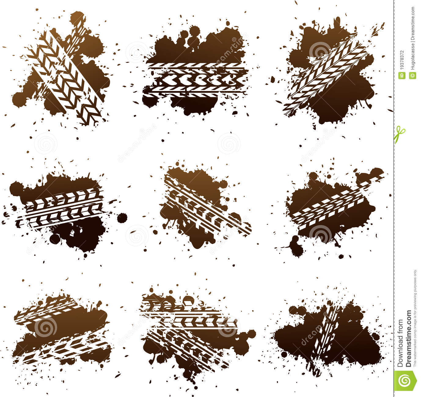 Dirty mud tire tracks clip art illustration.