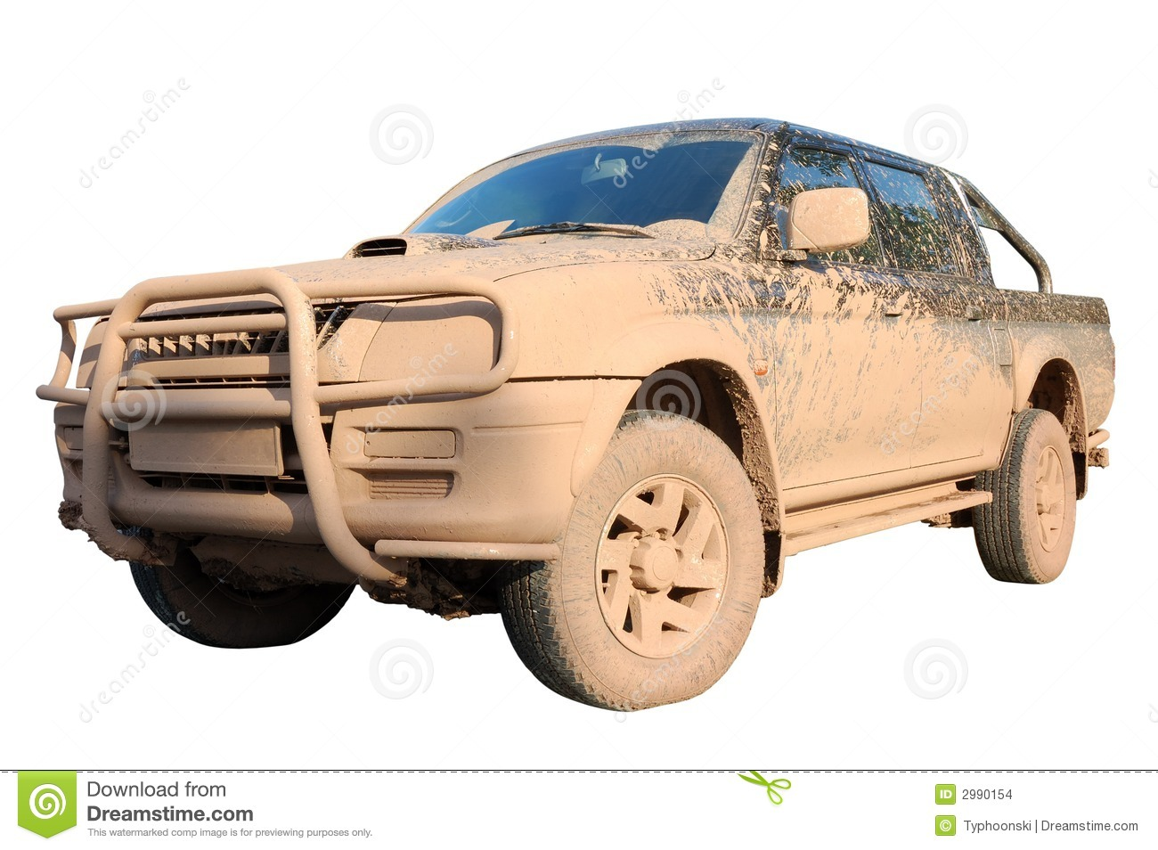 Dirty offroad pick-up car isolated over white with clipping-path.