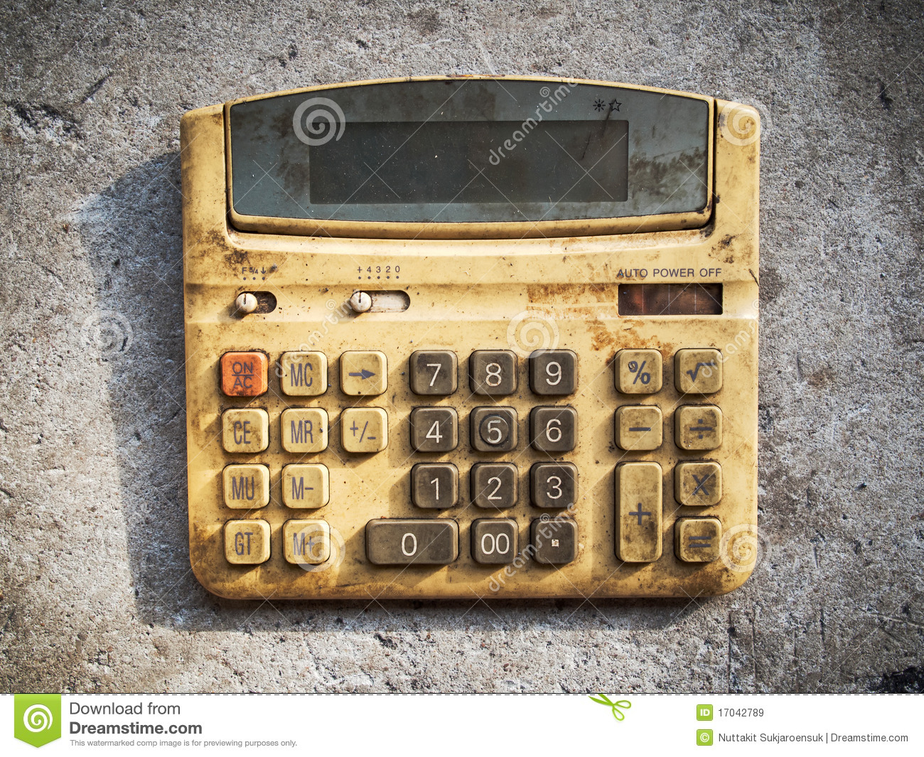 Dirty old calculator stock image. Image of machine ...