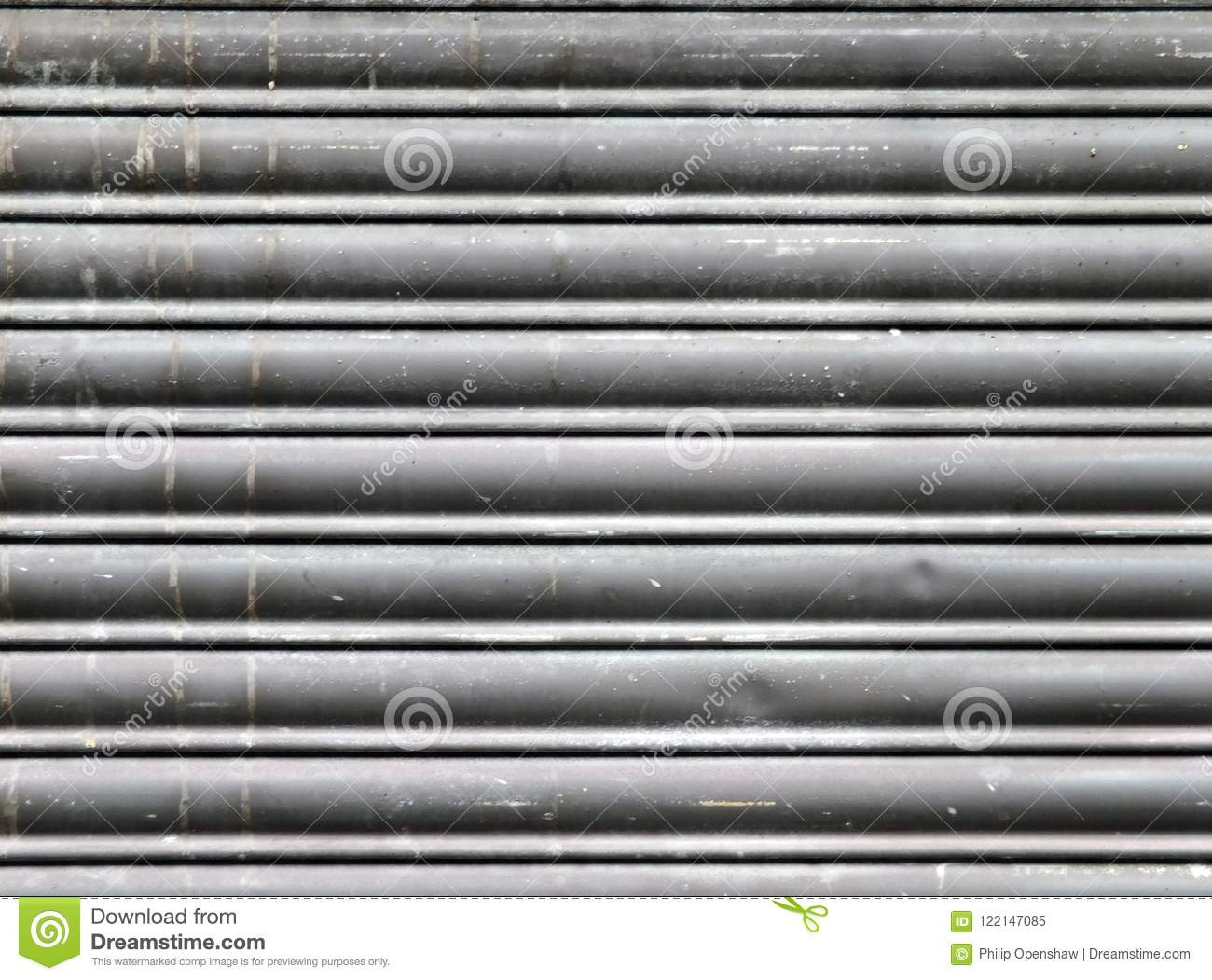 Dirty Old Grey Stained Horizontal Closed Steel Rolling