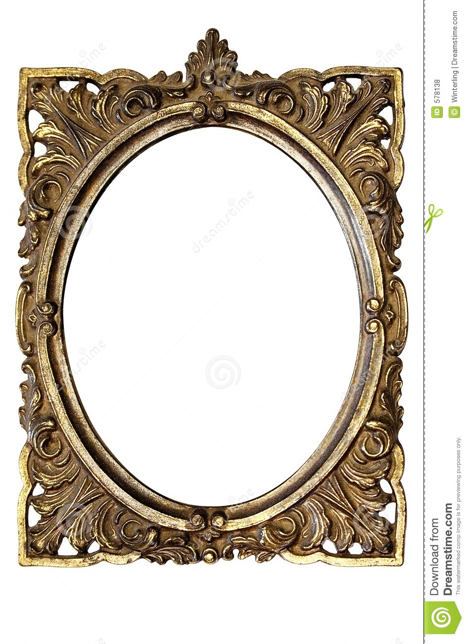 Dirty Old Ornamented Oval Picture Frame W Path Stock
