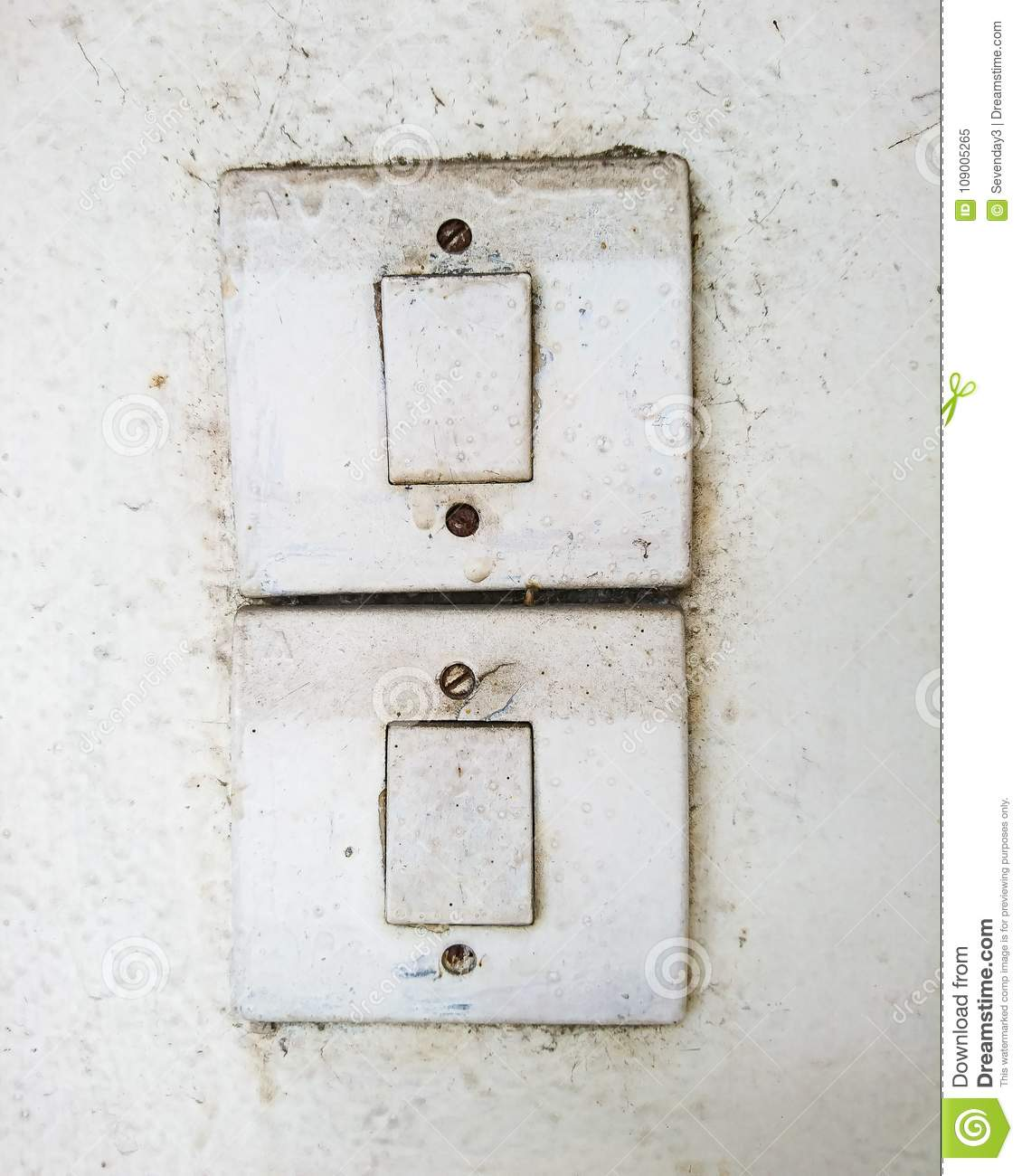 Dirty Old Switches On The White Wall Stock Image - Image of wall ...