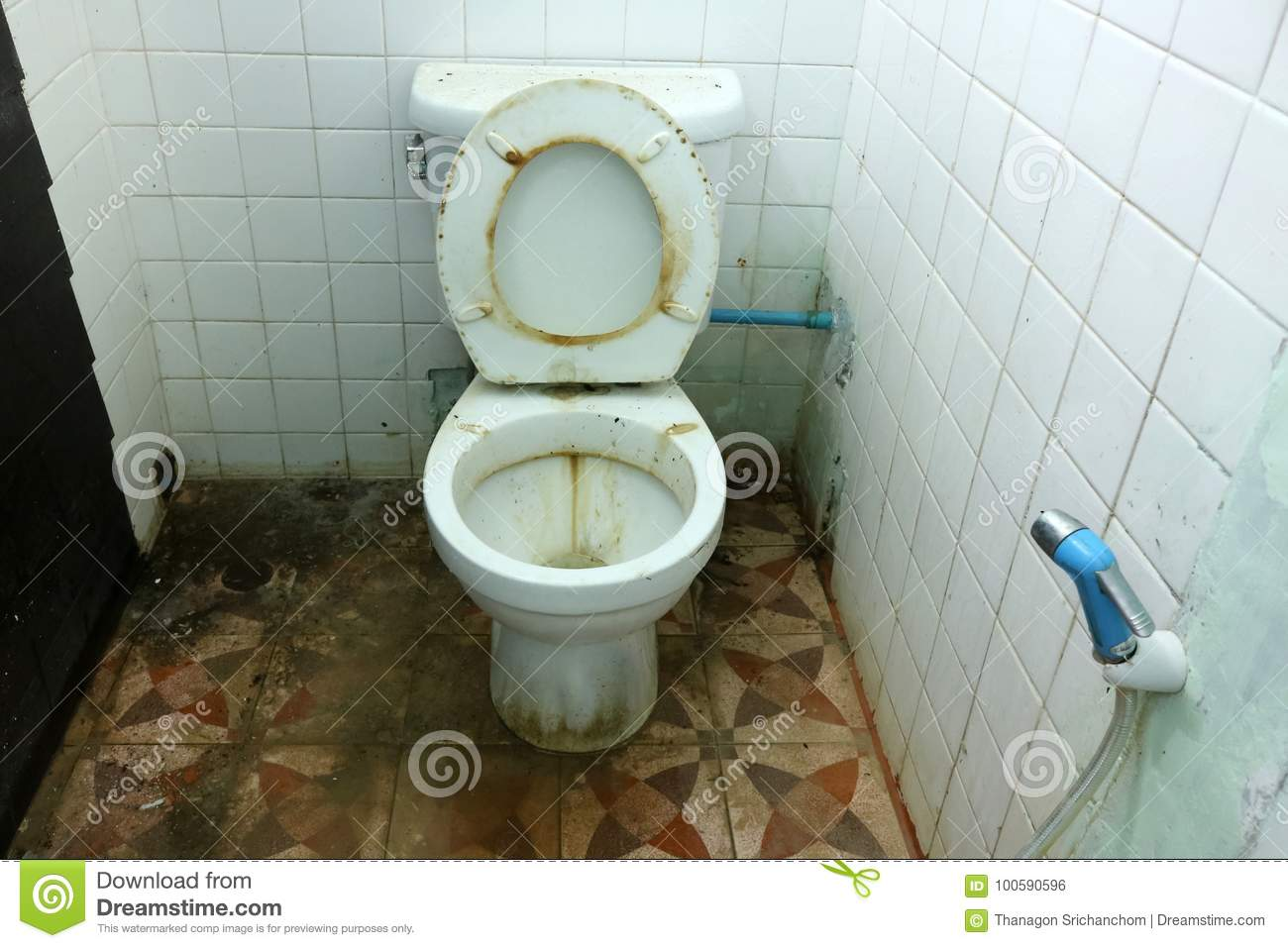 Dirty Old Toilets Bowl And The Bathrooms Stock Photo