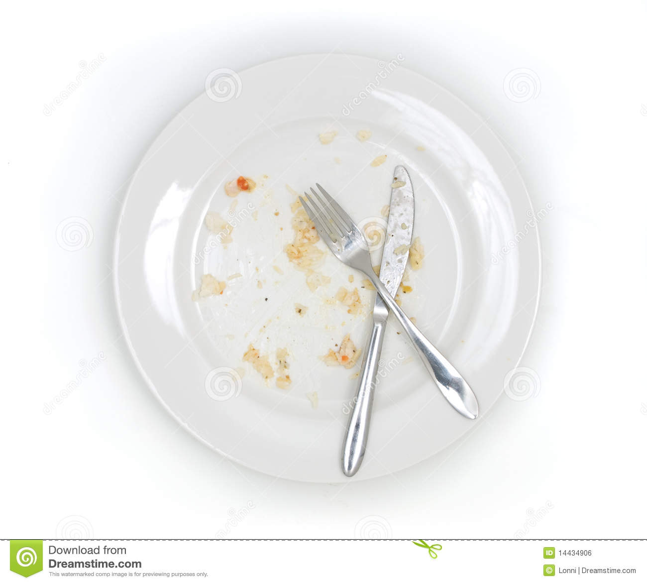 An empty plate, dirty after the meal is finished. View from above.
