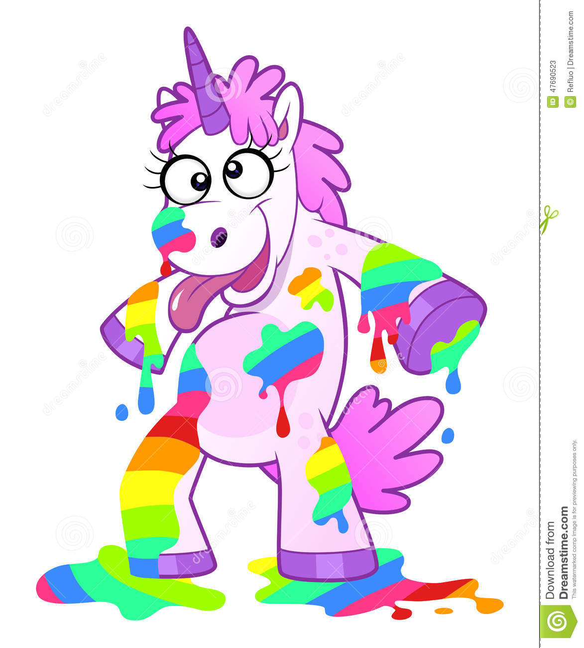 Cartoon mad unicorn soiled liquid rainbow. Bizarre and crazy ...