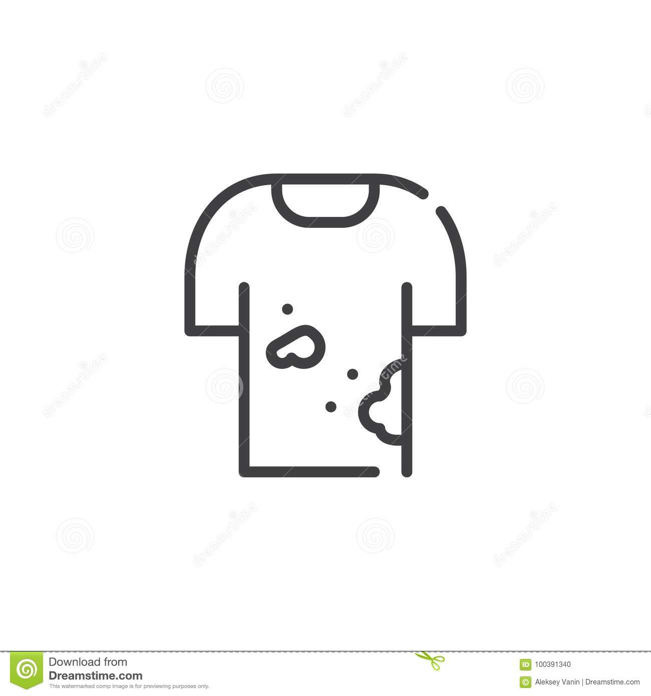 Dirty Shirt Line Icon Stock Vector Illustration Of Drop 100391340