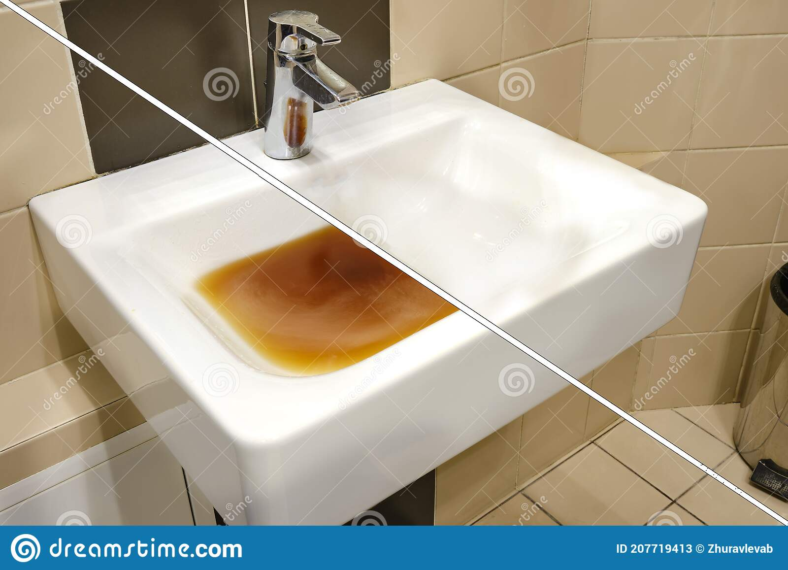 Dirty Sink Before And After Clearing The Blockage Clog Problems In The Bathroom And Toilet Stock Image Image Of Clean Garbage 207719413