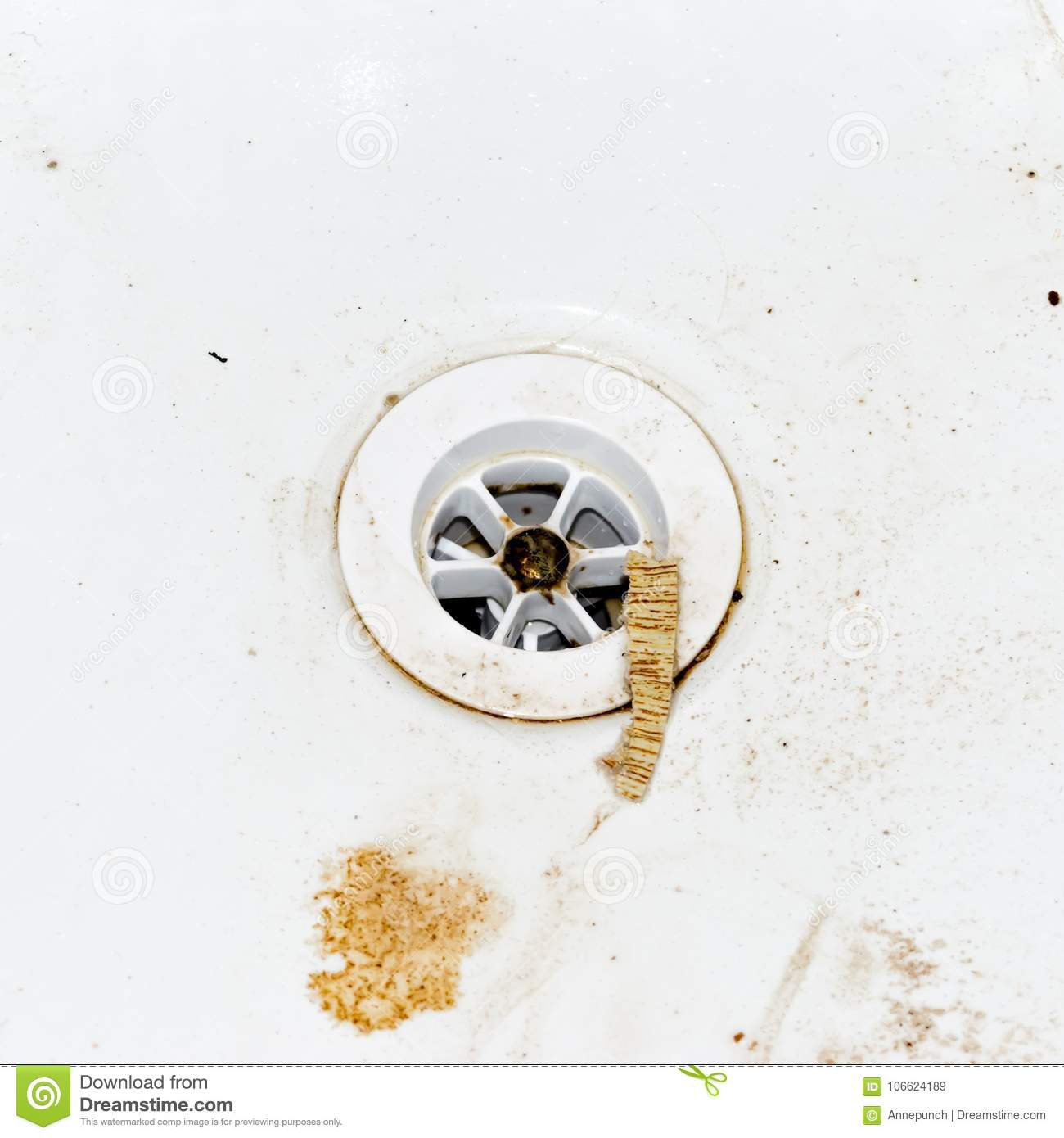 Messy Kitchen Sink Stock Photos: Dirty Sink Drain. Square Photo. Stock Image