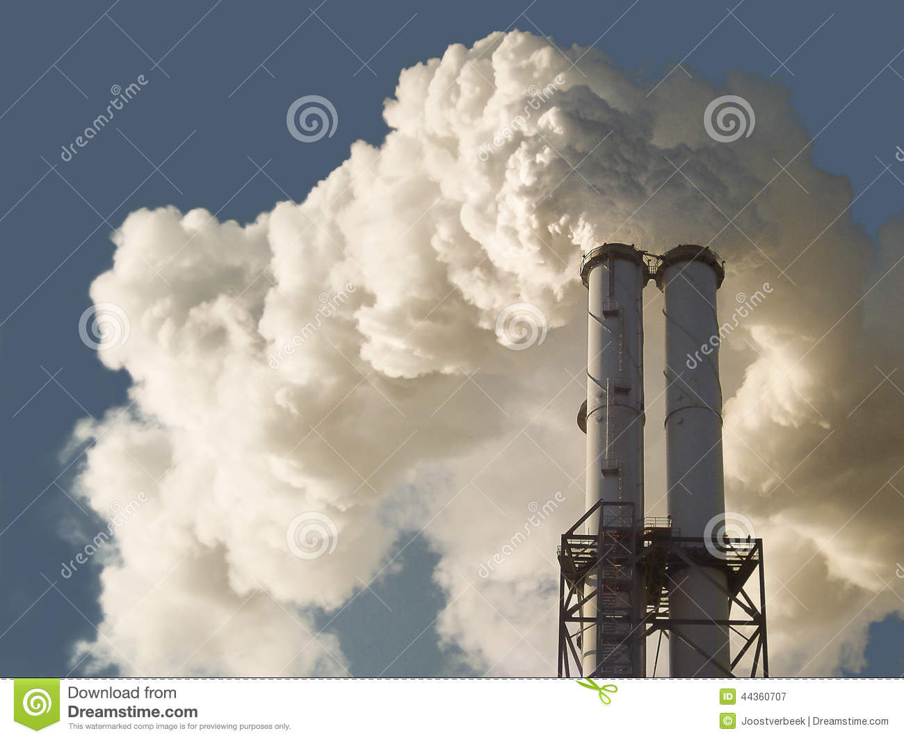 Dirty Smoke Stack Of Coal Fired Power Plant Stock Image