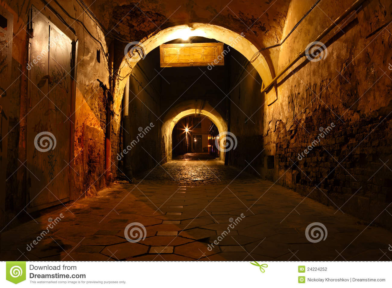 Download Dirty street stock photo. Image of passage, night, brick - 24224252