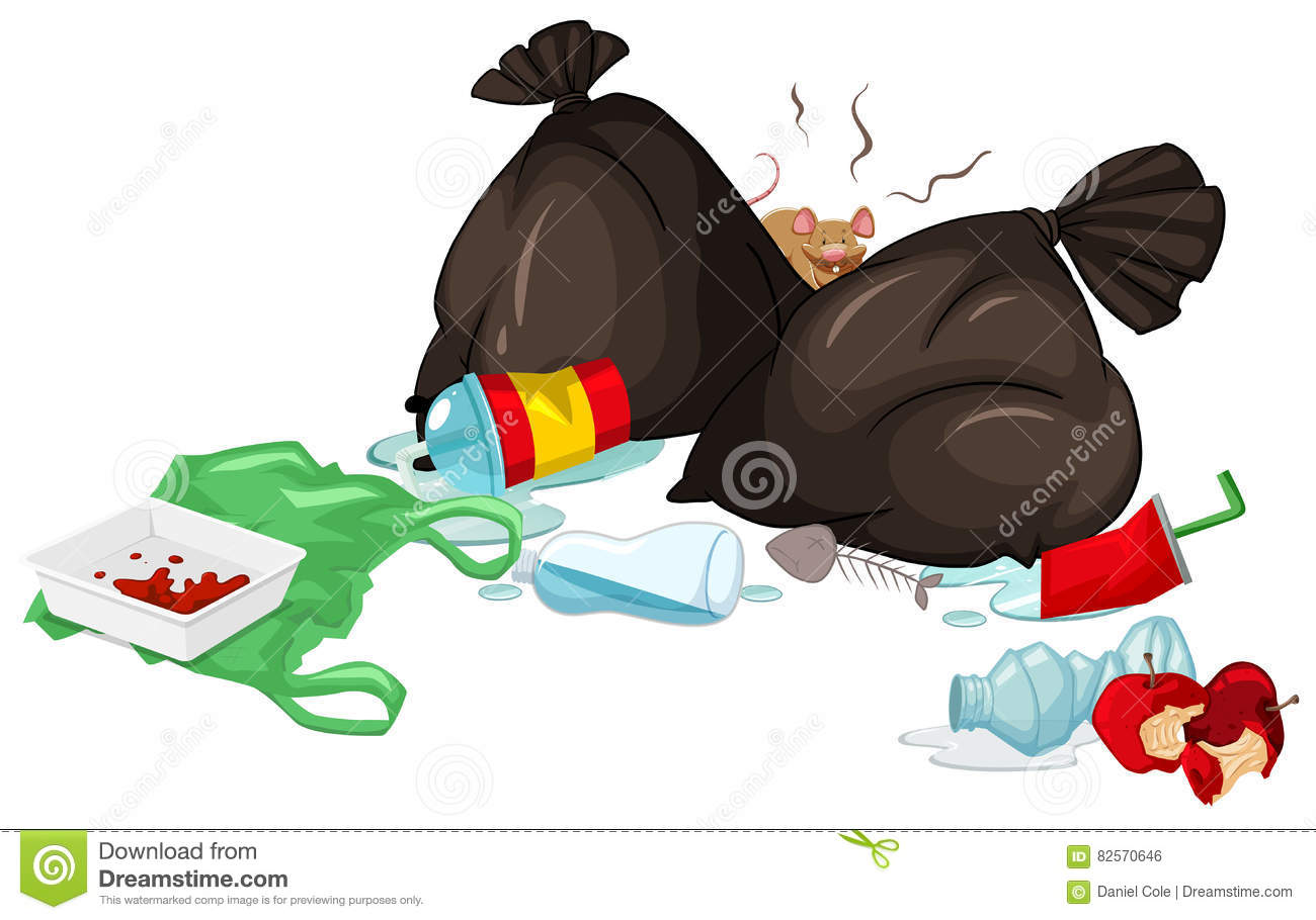 No Garbage On Floor : Dirty trash bags and rotten food on the floor stock vector