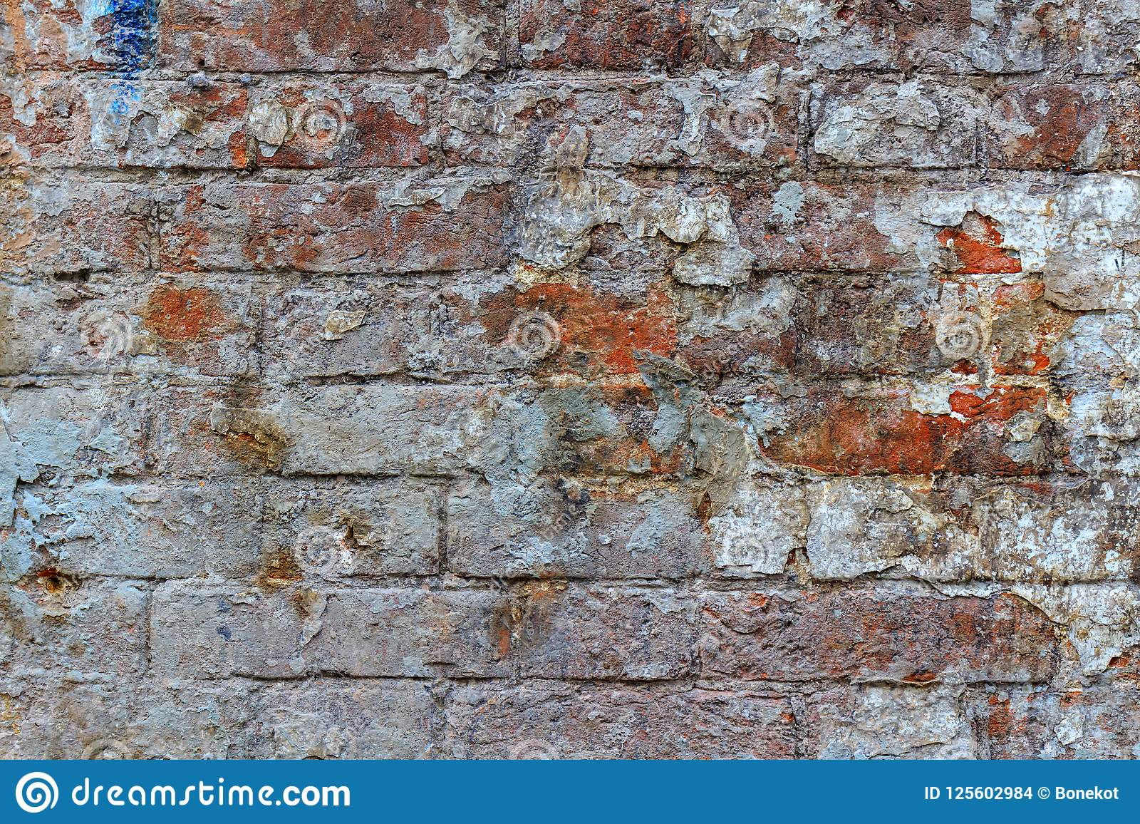 Dirty Vintage Red Brick Wall Texture With Paint Stains Abstract