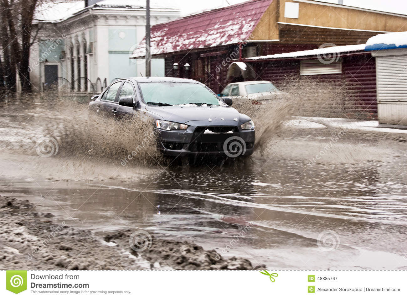 Download Dirty Water Splash From The Car Wheels At Spring Snowy Street Stock Image - Image of automobile, pouring: 48885767