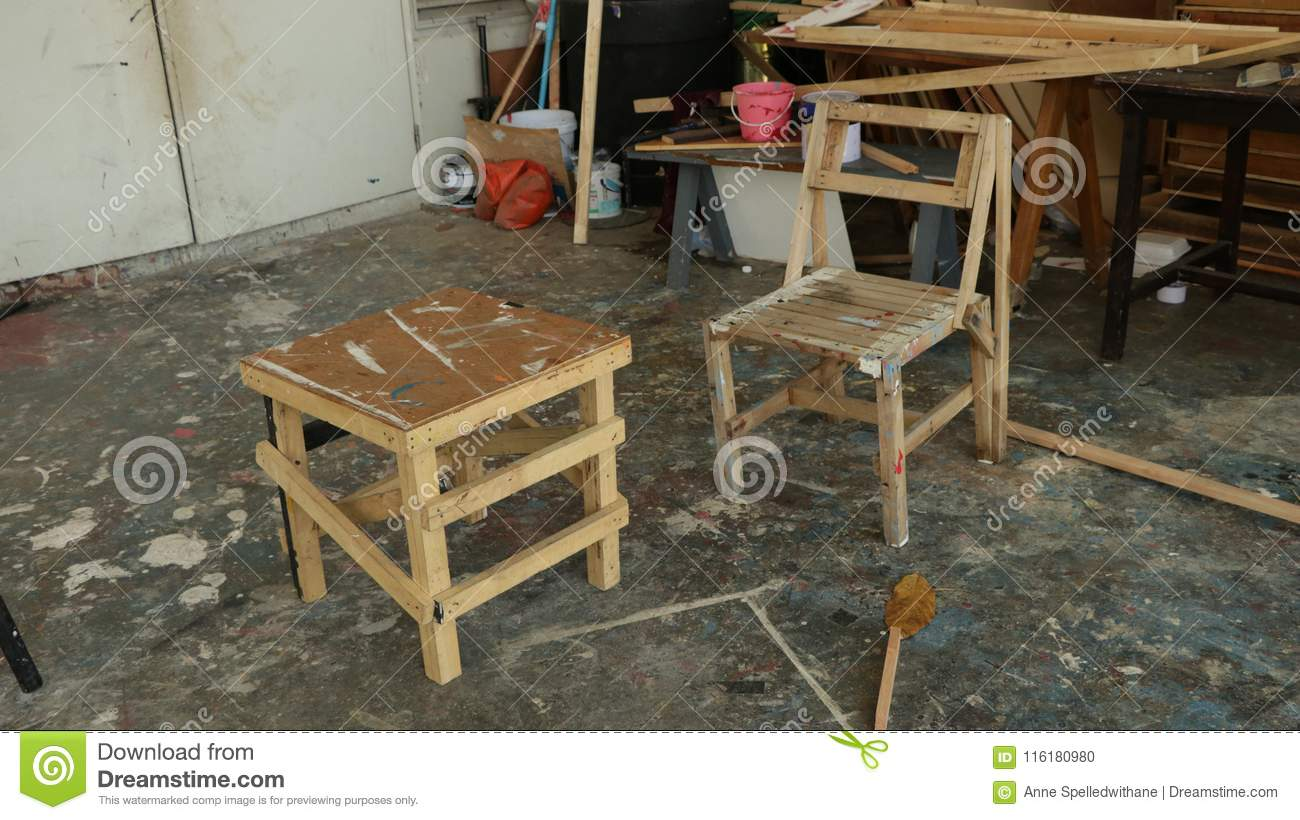 Prime Dirty Wooden Chairs In Front Of Messy Storehouse Stock Photo Machost Co Dining Chair Design Ideas Machostcouk
