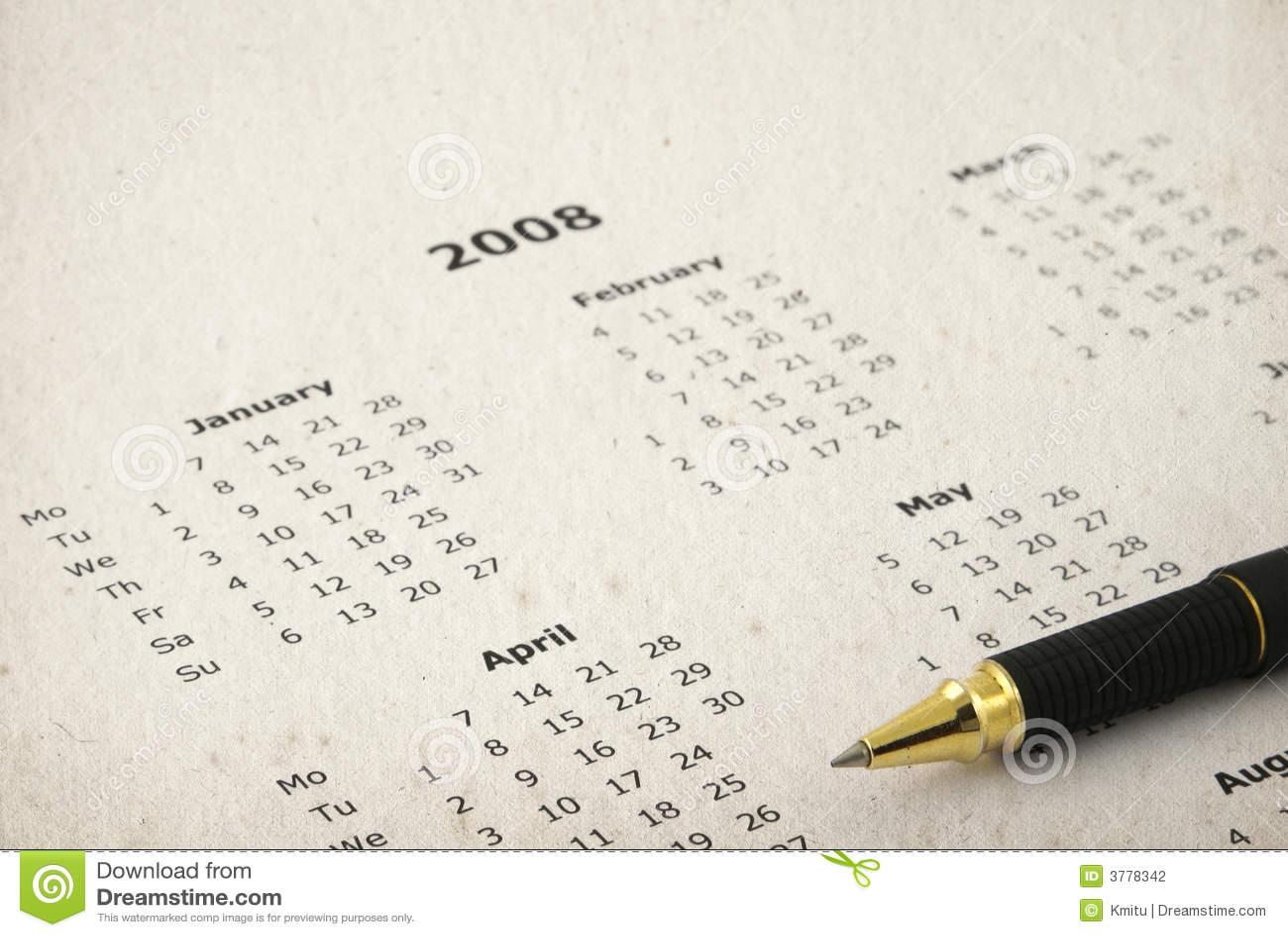 Dirty yearly calendar