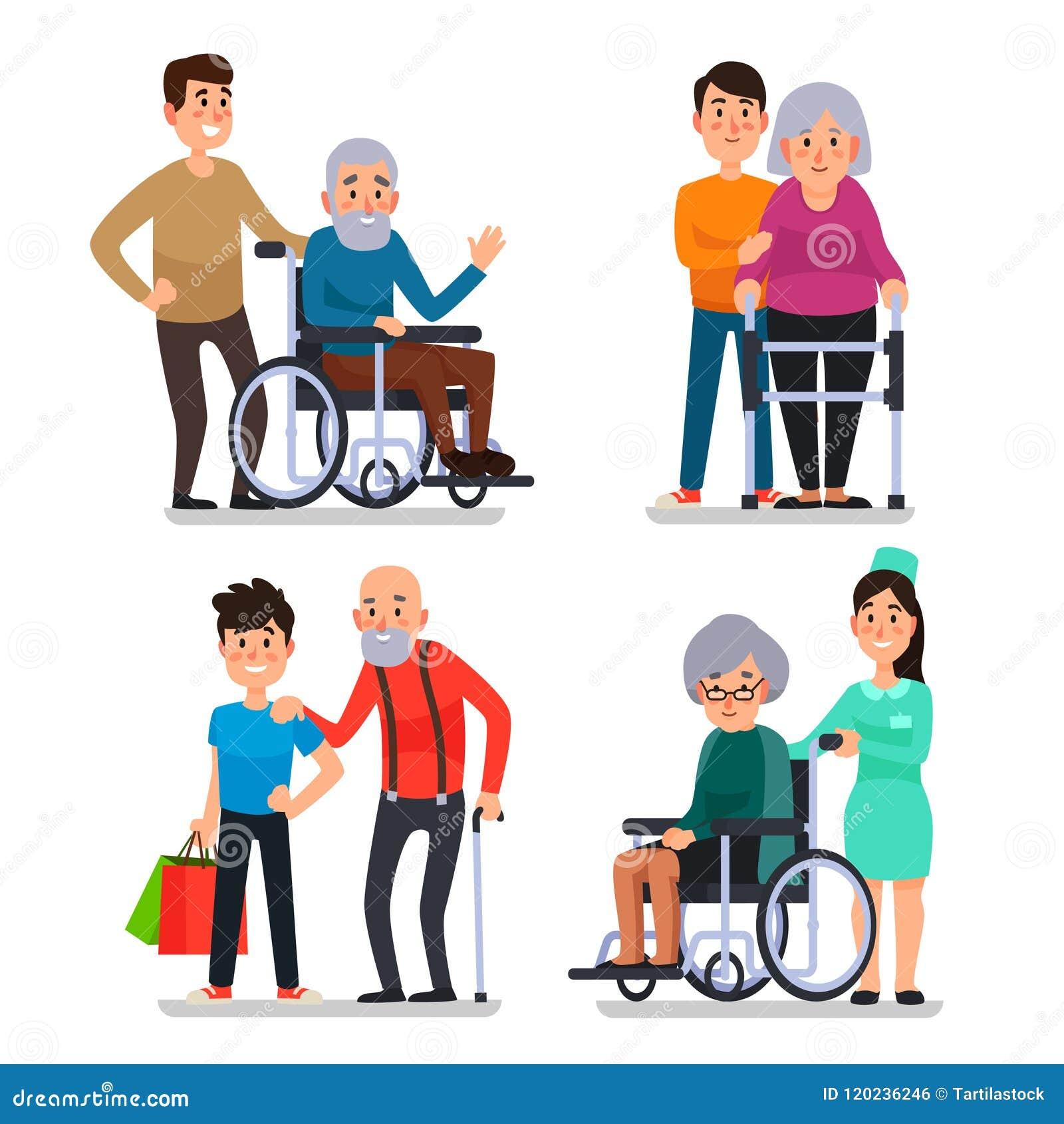 Disabili anziani di aiuto L assistente sociale della comunità volontaria aiuta i cittadini anziani sulla sedia a rotelle, senior