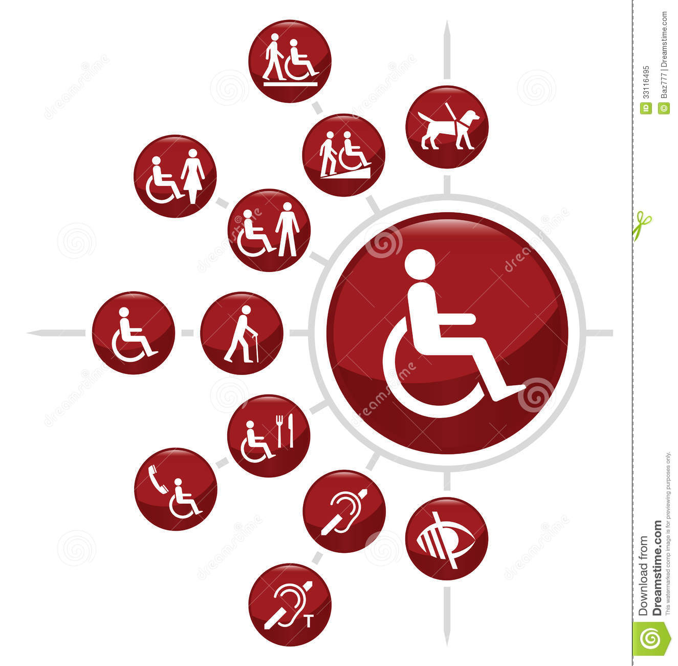 Red Disability related icon set isolated on white background.