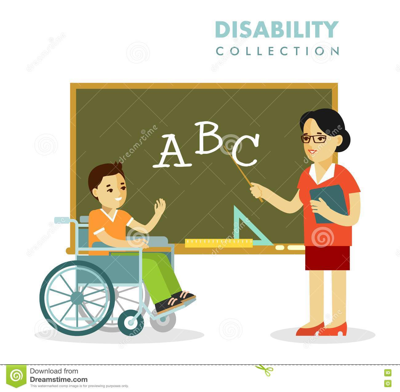 Classroom Design For Wheelchairs ~ Disability school children and teacher concept stock