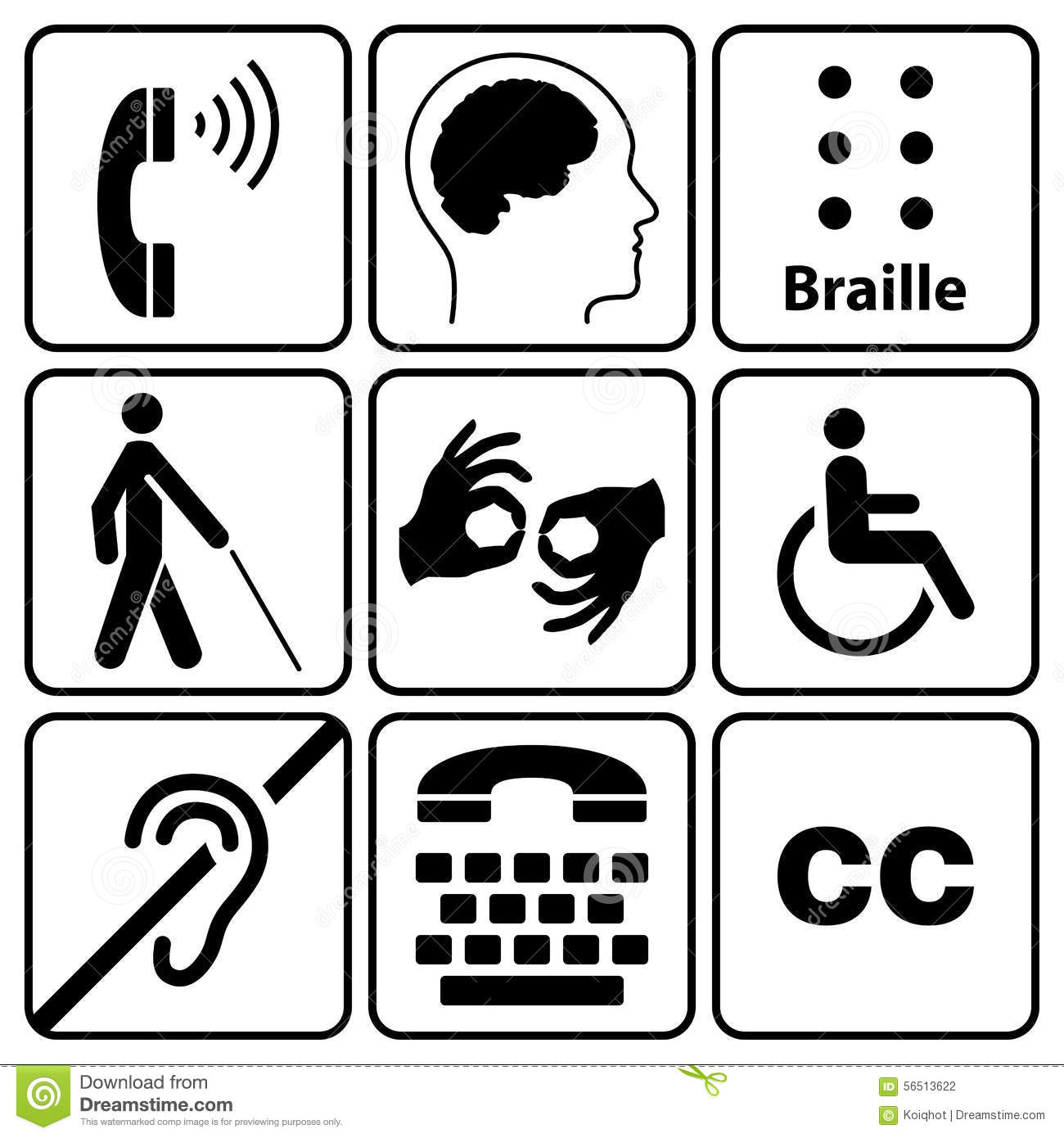 Disability Symbols And Signs Collection Stock Vector